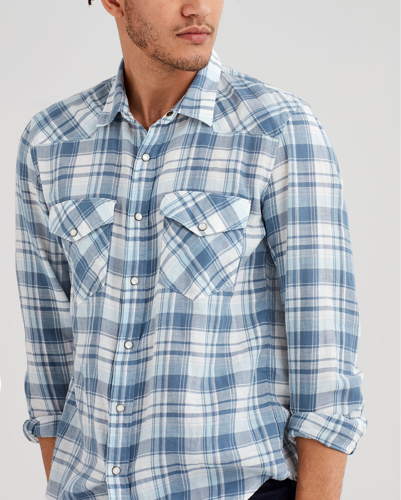 Image of Long Sleeve Western Plaid Shirt in Pale Blue