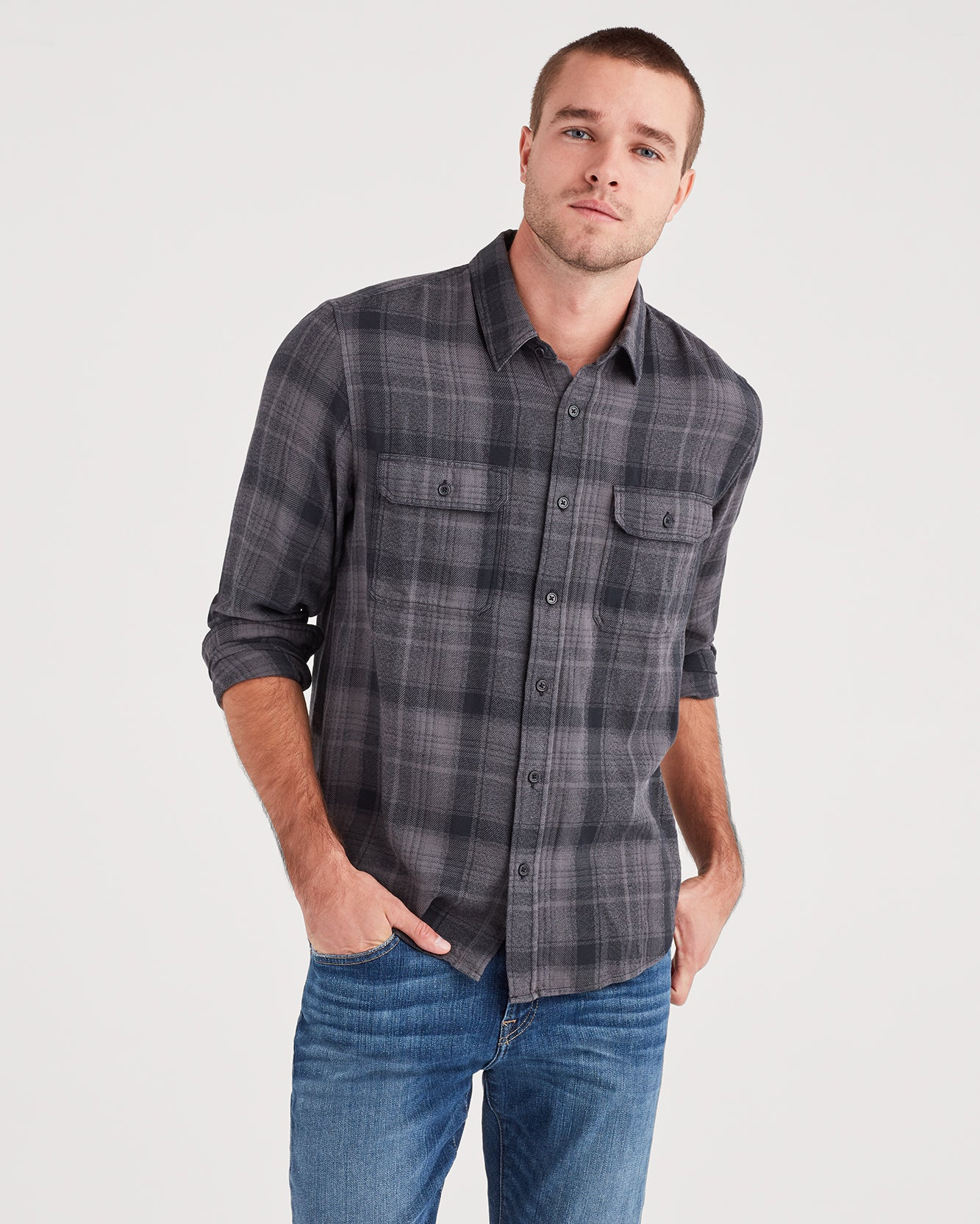 Image of Long Sleeve Plaid Utility Shirt in Grey