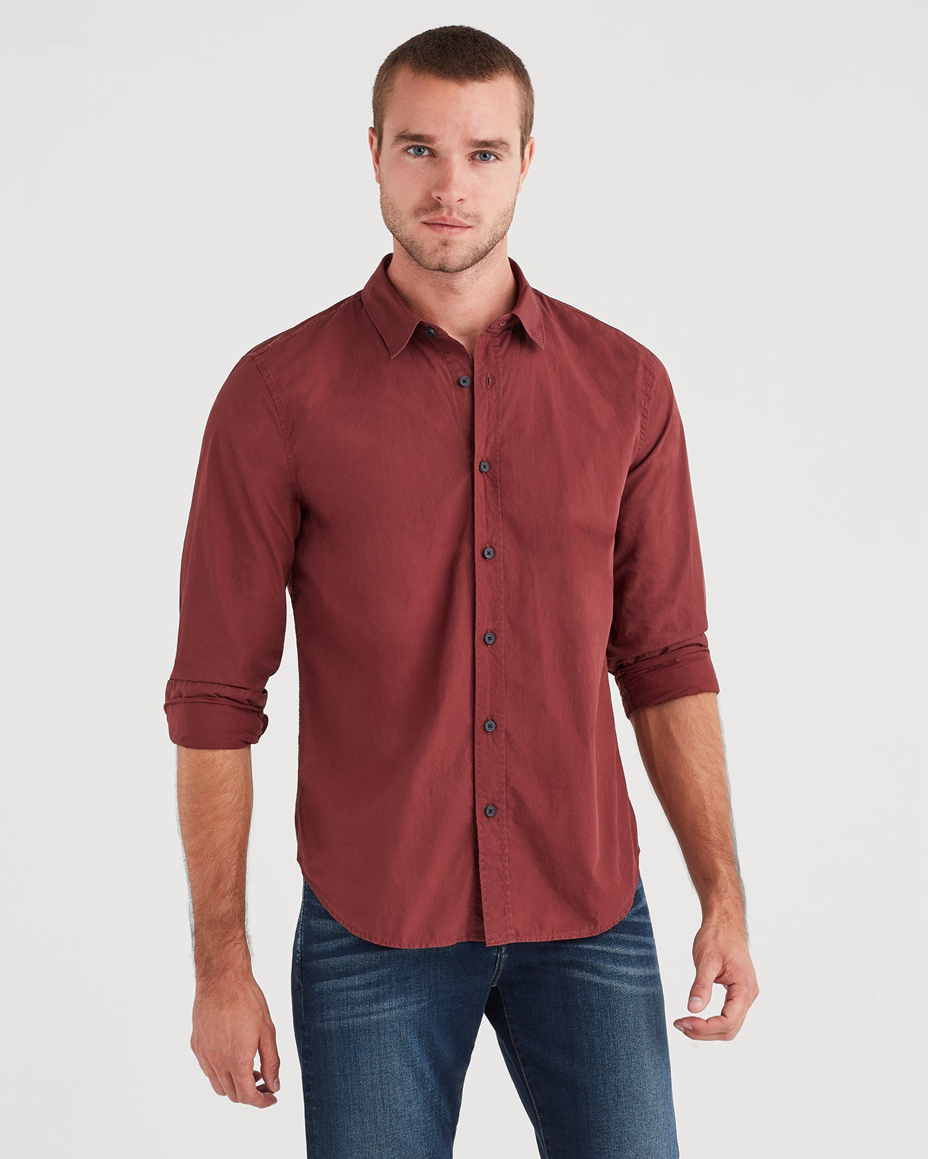 Image of Long Sleeve Washed Poplin Shirt in Dark Burgundy