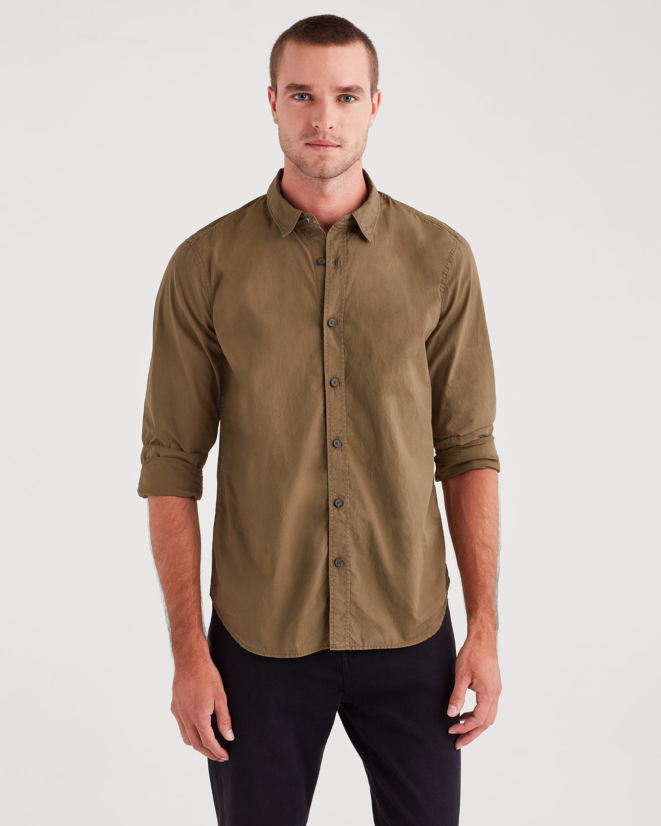 Image of Long Sleeve Poplin Shirt in Military Olive