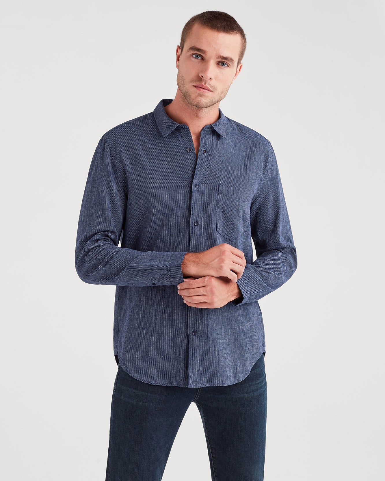 Image of Long Sleeve Microstripe Shirt in Navy