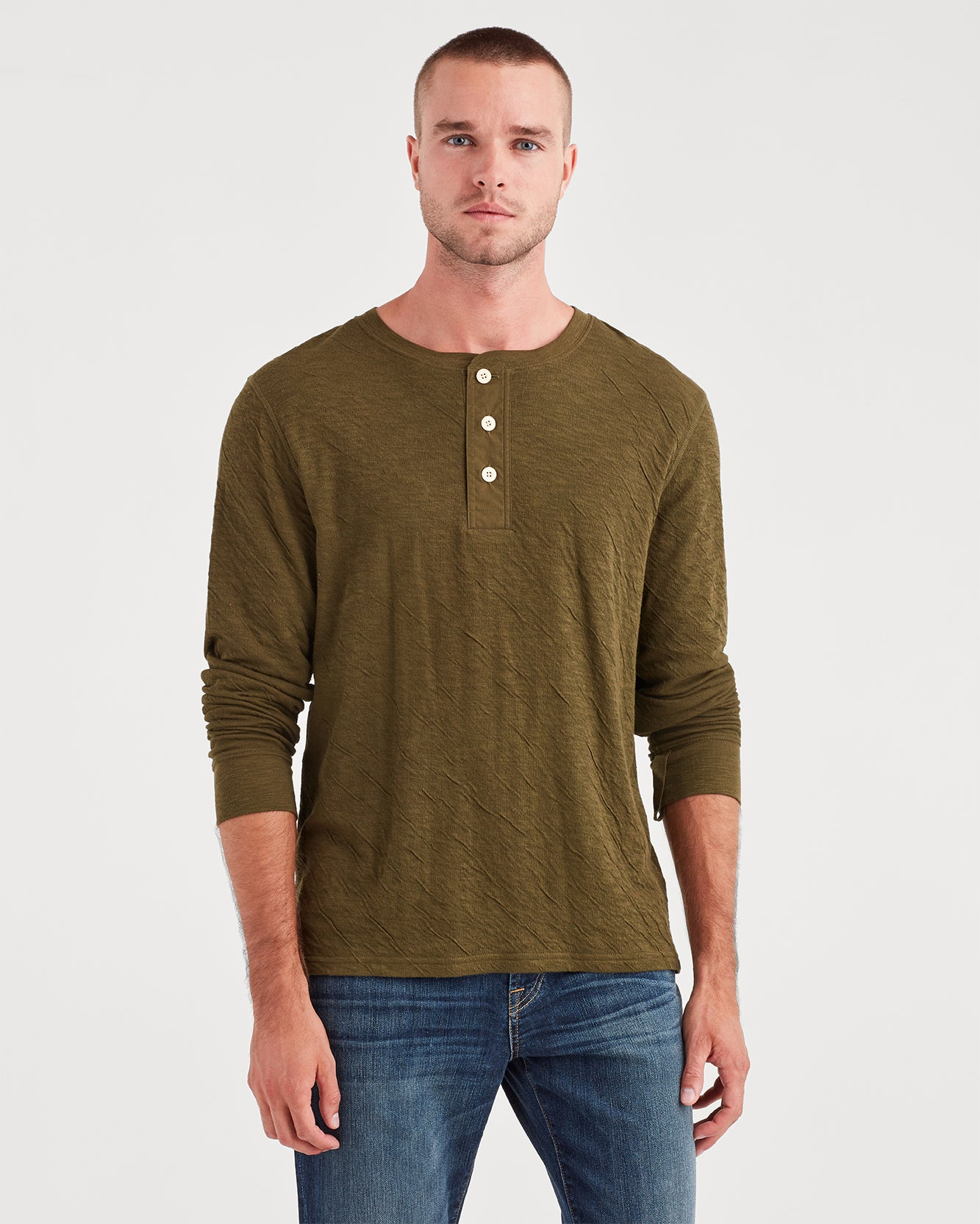 Image of Long Sleeve Army Henley in Military Olive