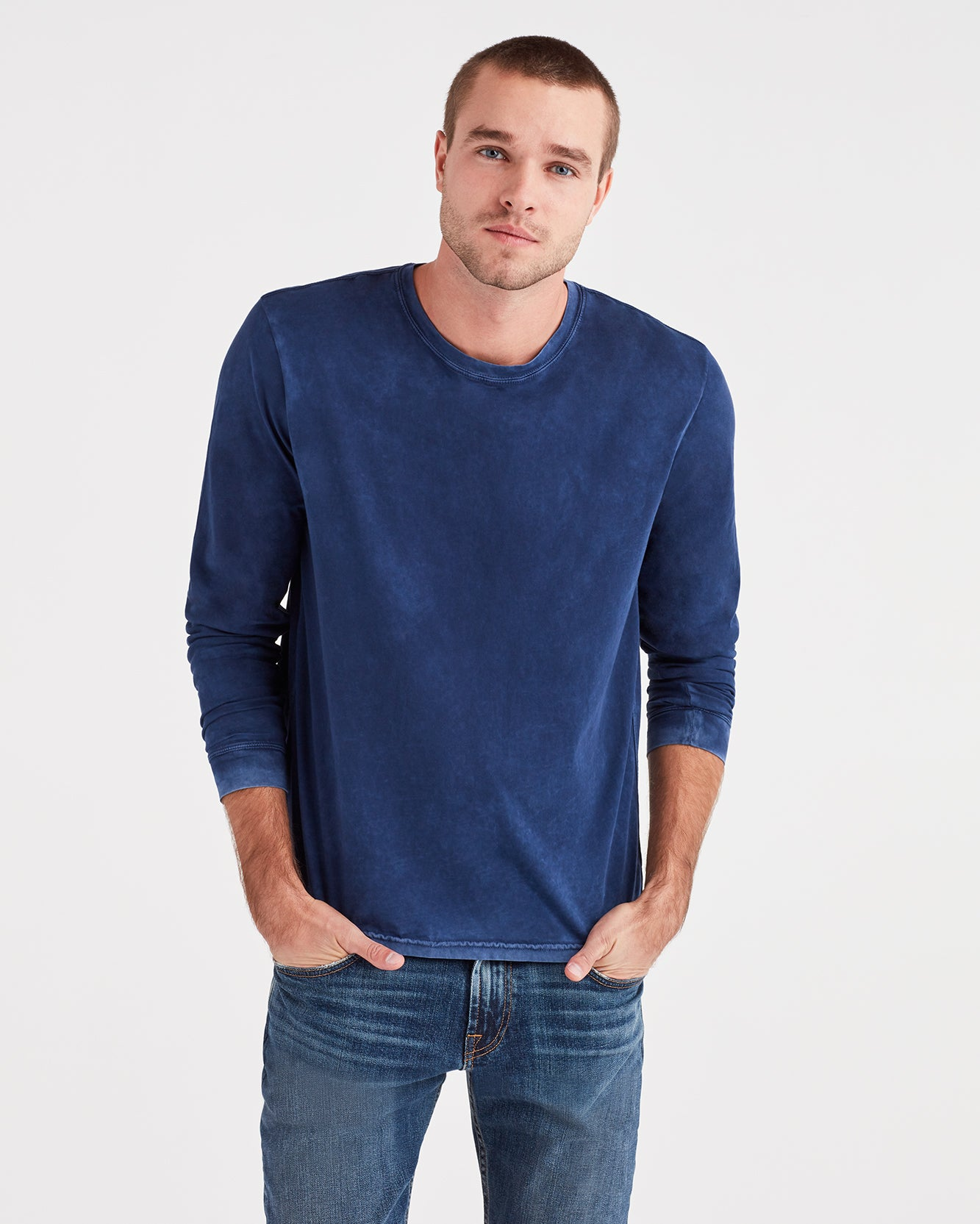 Image of Long Sleeve Washed Tee in Navy