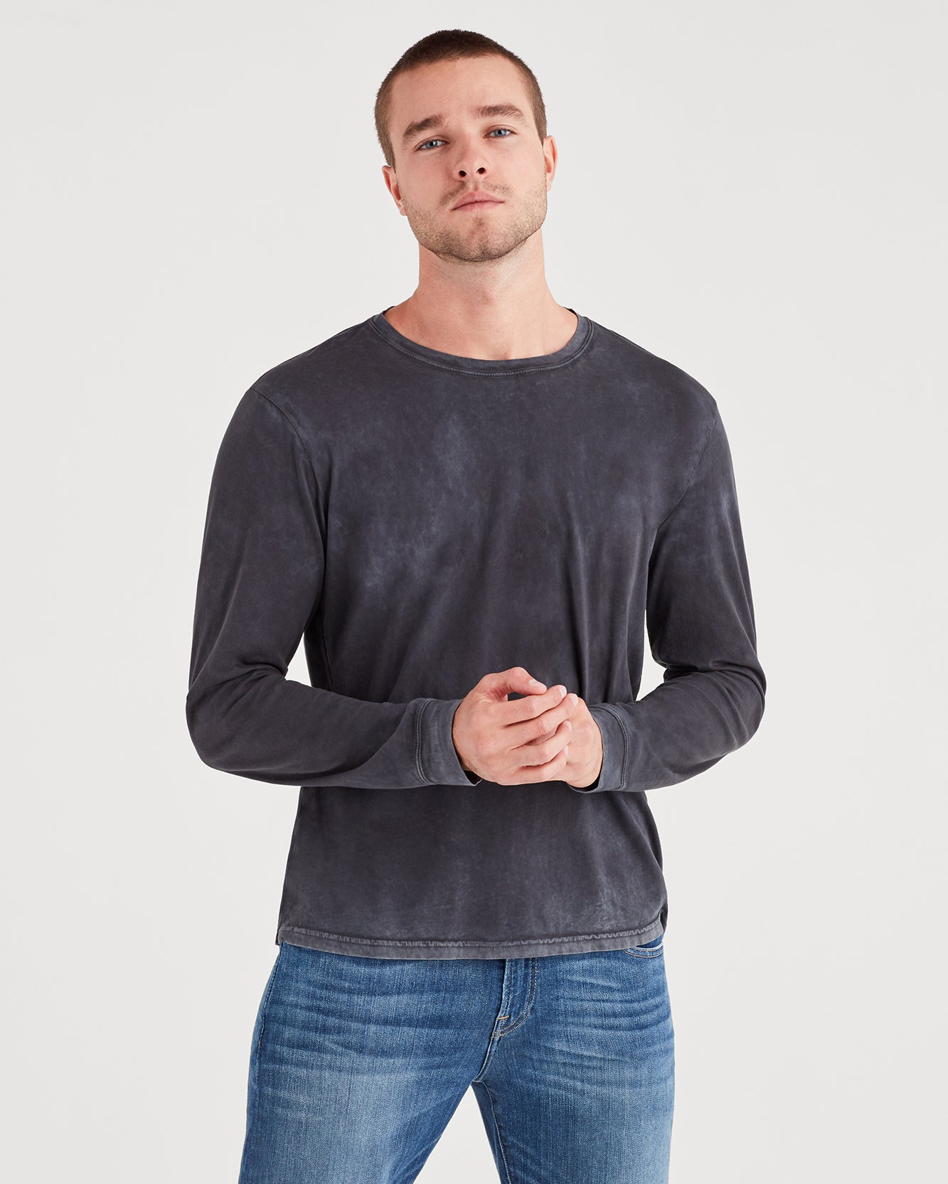 Image of Long Sleeve Washed Tee in Old Black