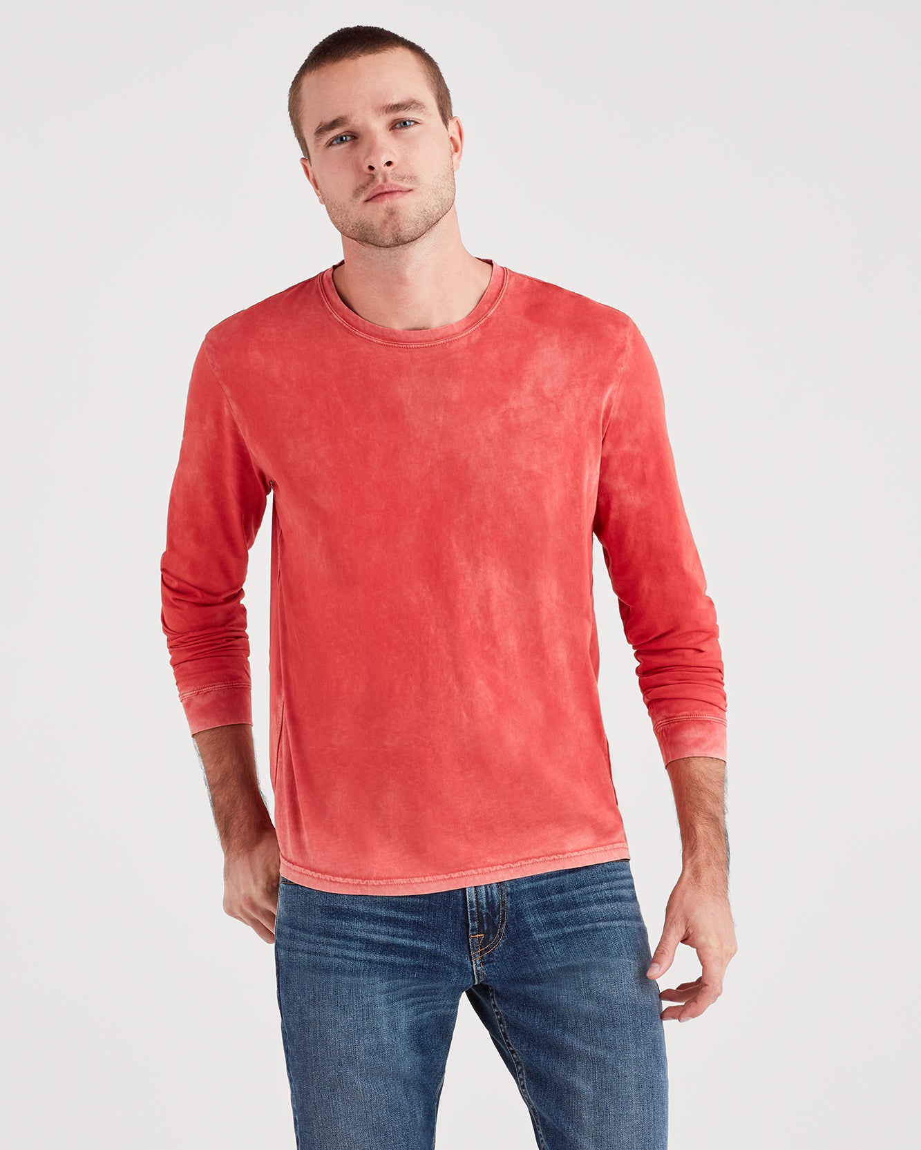 Image of Long Sleeve Washed Tee in Red Flame