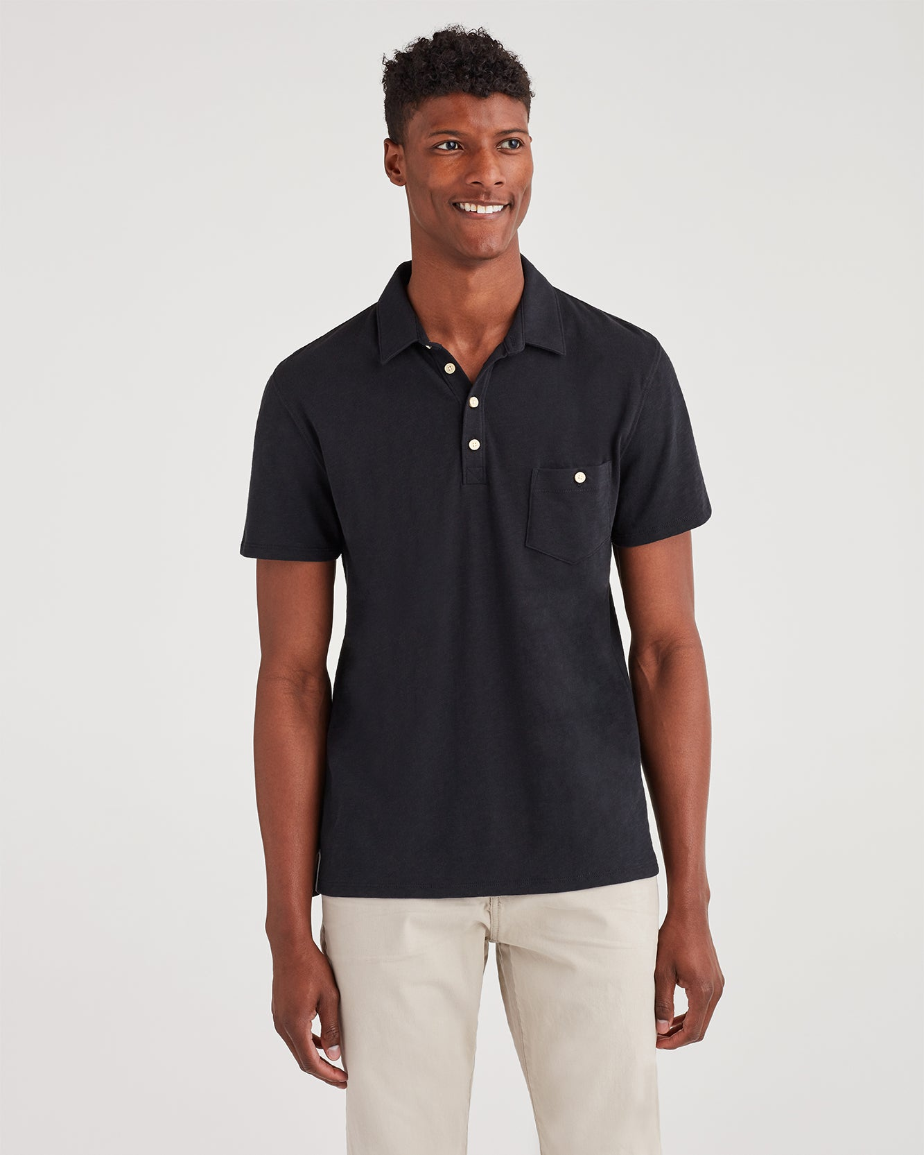 Image of Boxer Four Button Polo in Black