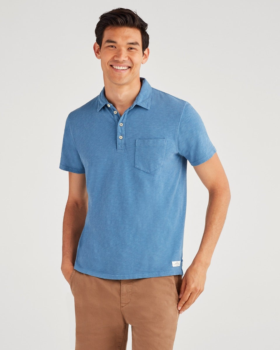 Image of Boxer 4 Button Polo in Steel Blue
