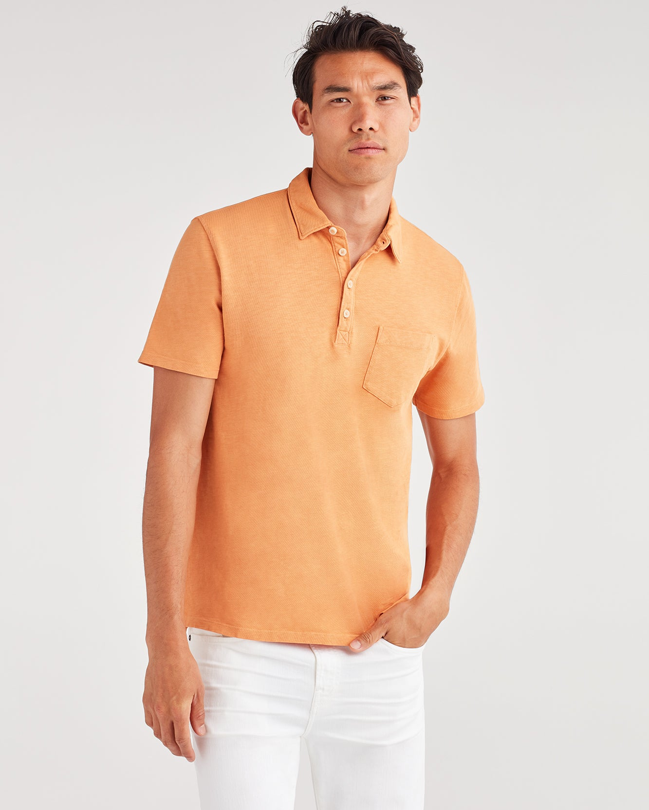 Image of Boxer Four Button Polo in Tangerine