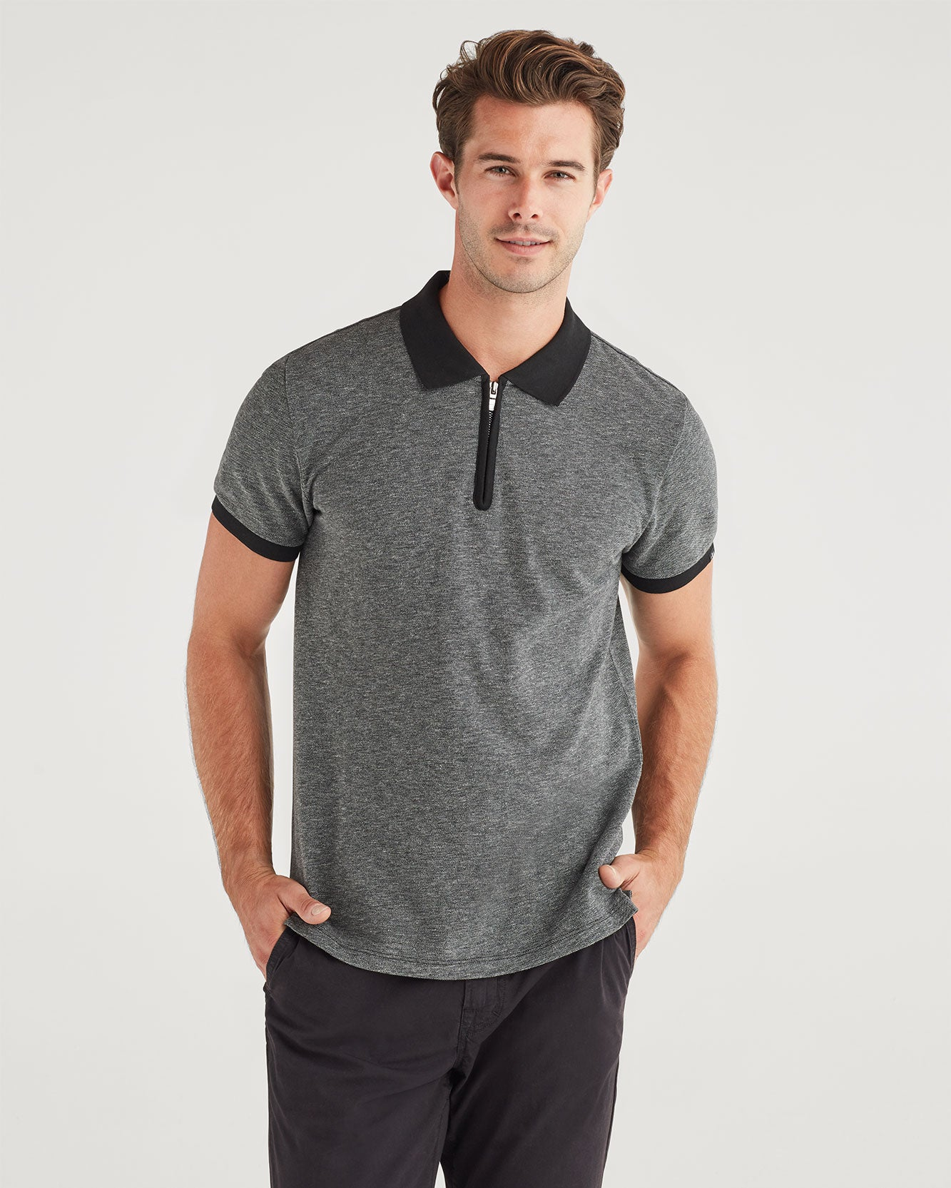 Image of Marled Pique Half Zip Polo in Charcoal