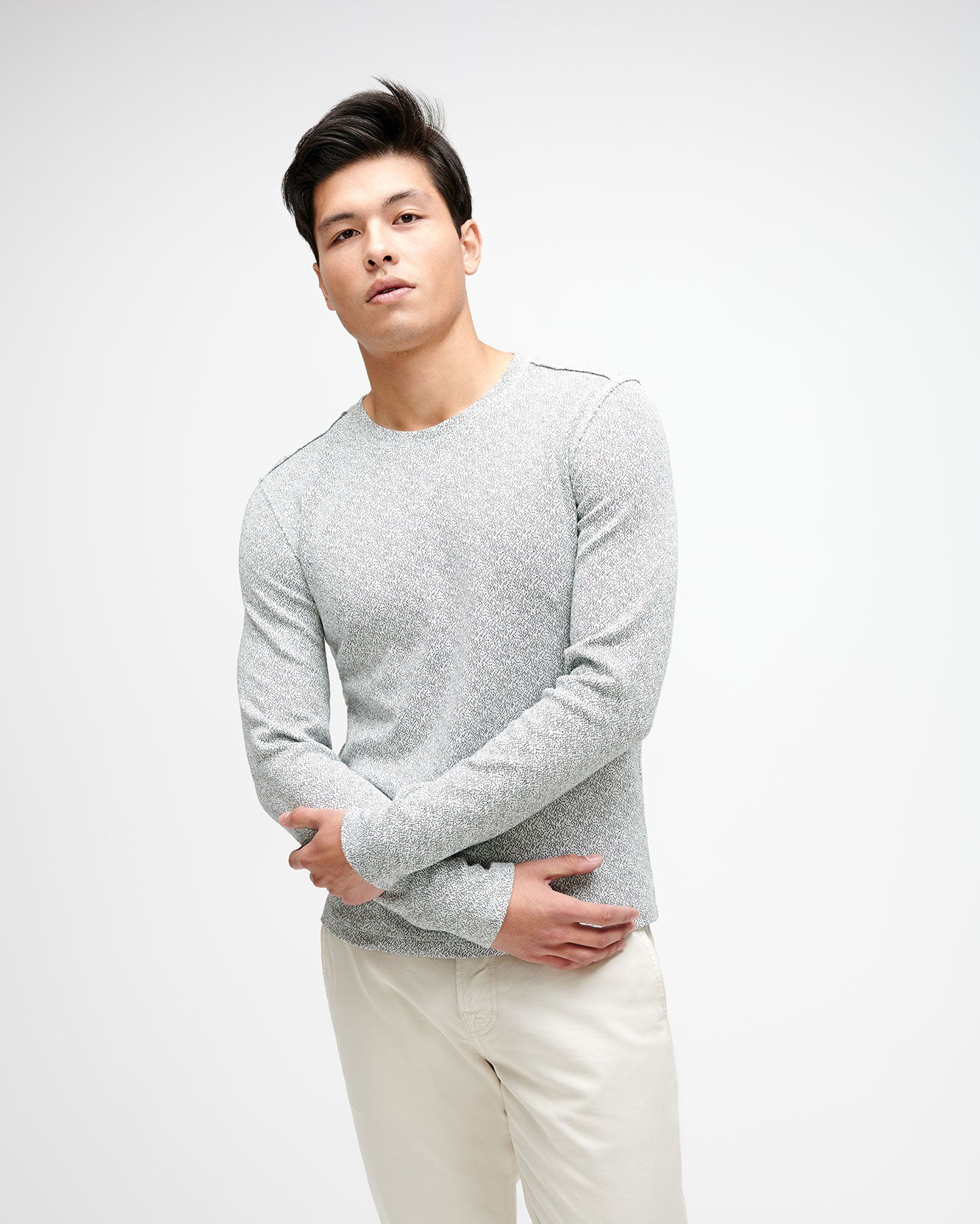 Image of Milano Crewneck Shirt with Raw Edges in Heather Grey