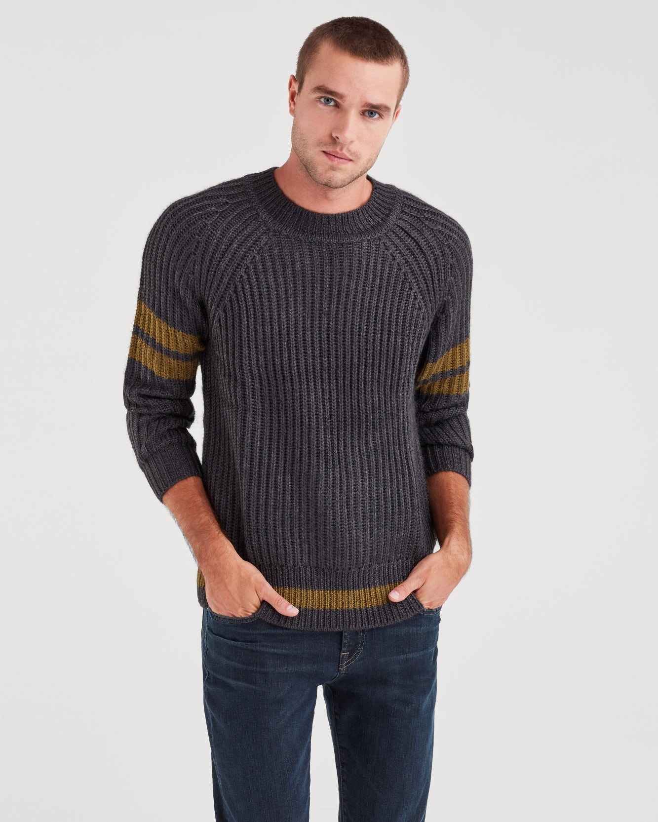 Image of College Military Sweater in Charcoal and Olive Stripe