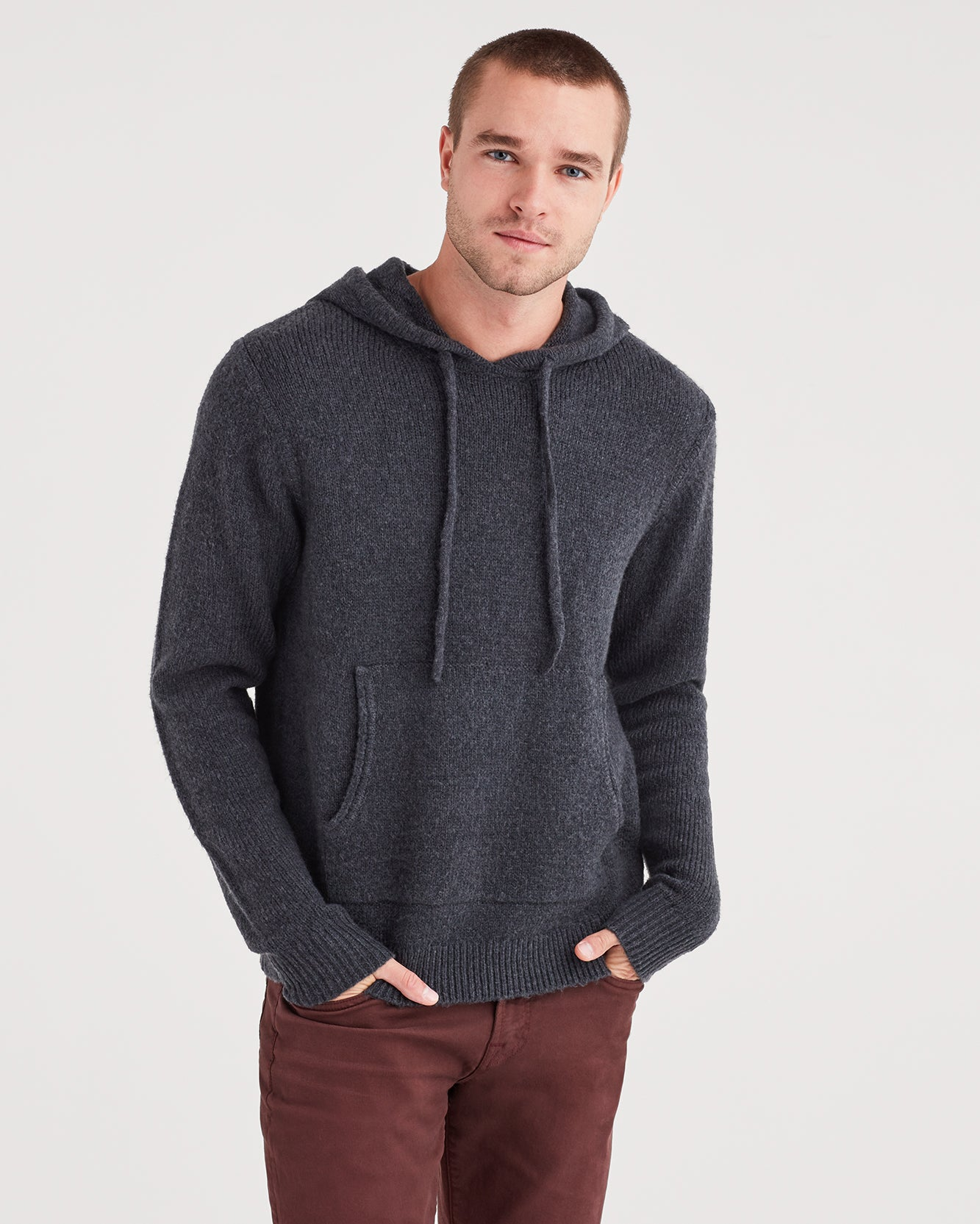Image of Marled Sweater Hoodie in Charcoal