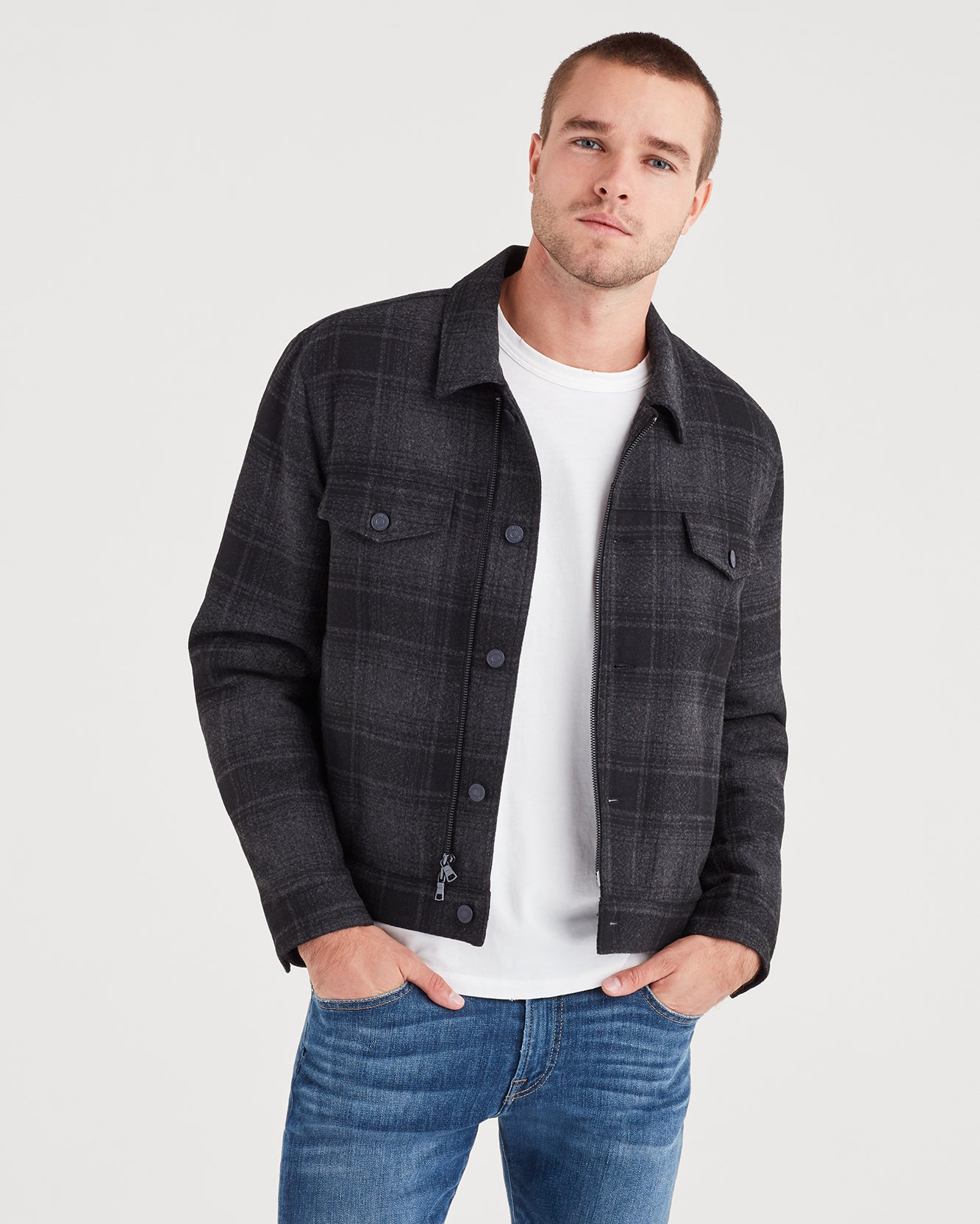 Image of Zip Through Plaid Trucker in Charcoal Plaid