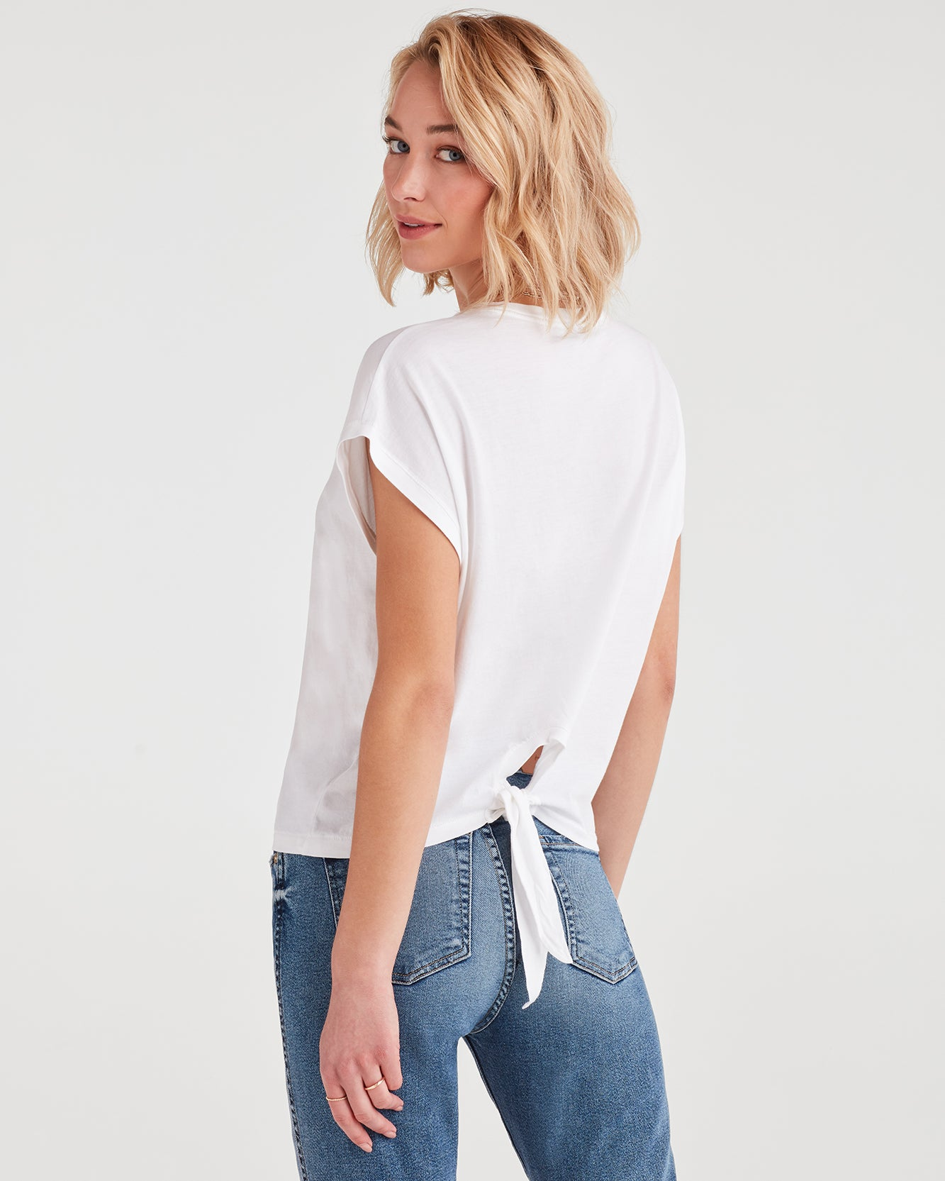 Image of Tie Back Tee in Optic White