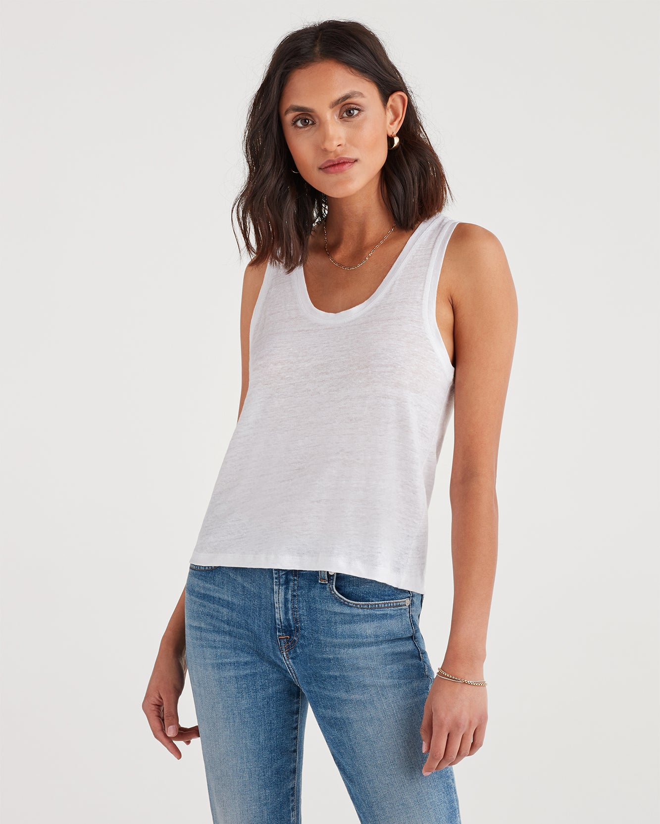 Image of Scoop Neck Tank in Optic White