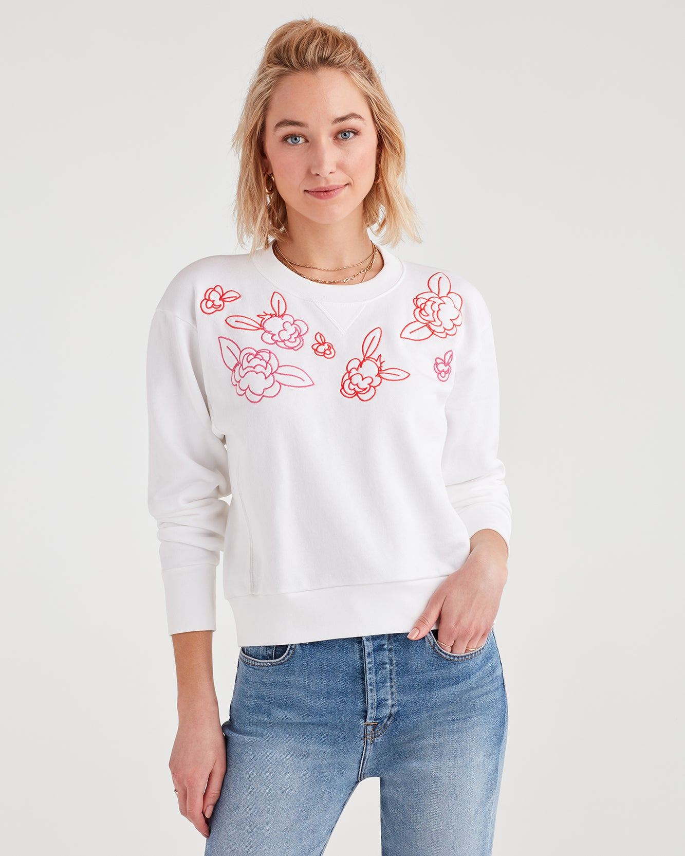 Image of Crewneck Sweatshirt with Pink Floral Embroidery in Optic White
