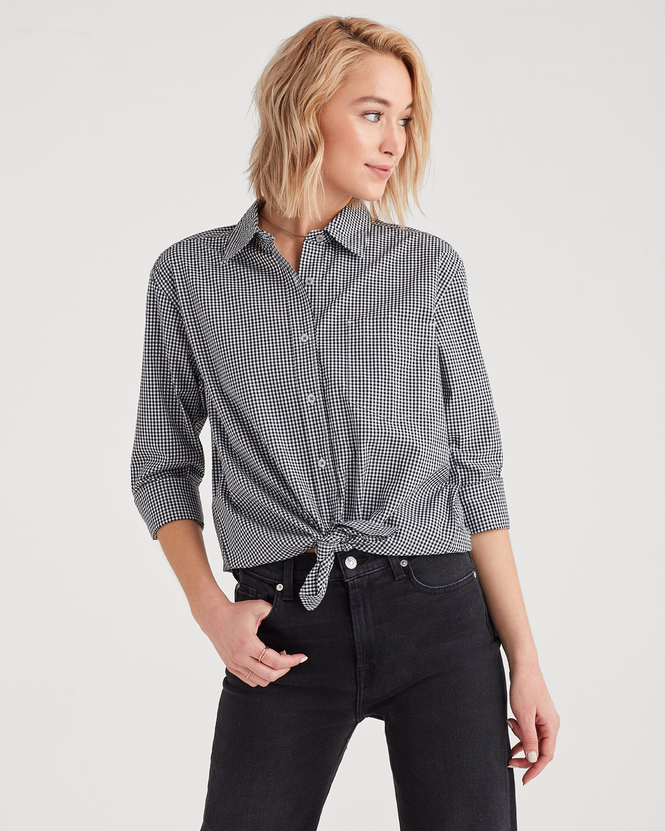 Image of Gingham High Low Tie Front Shirt in Black and White