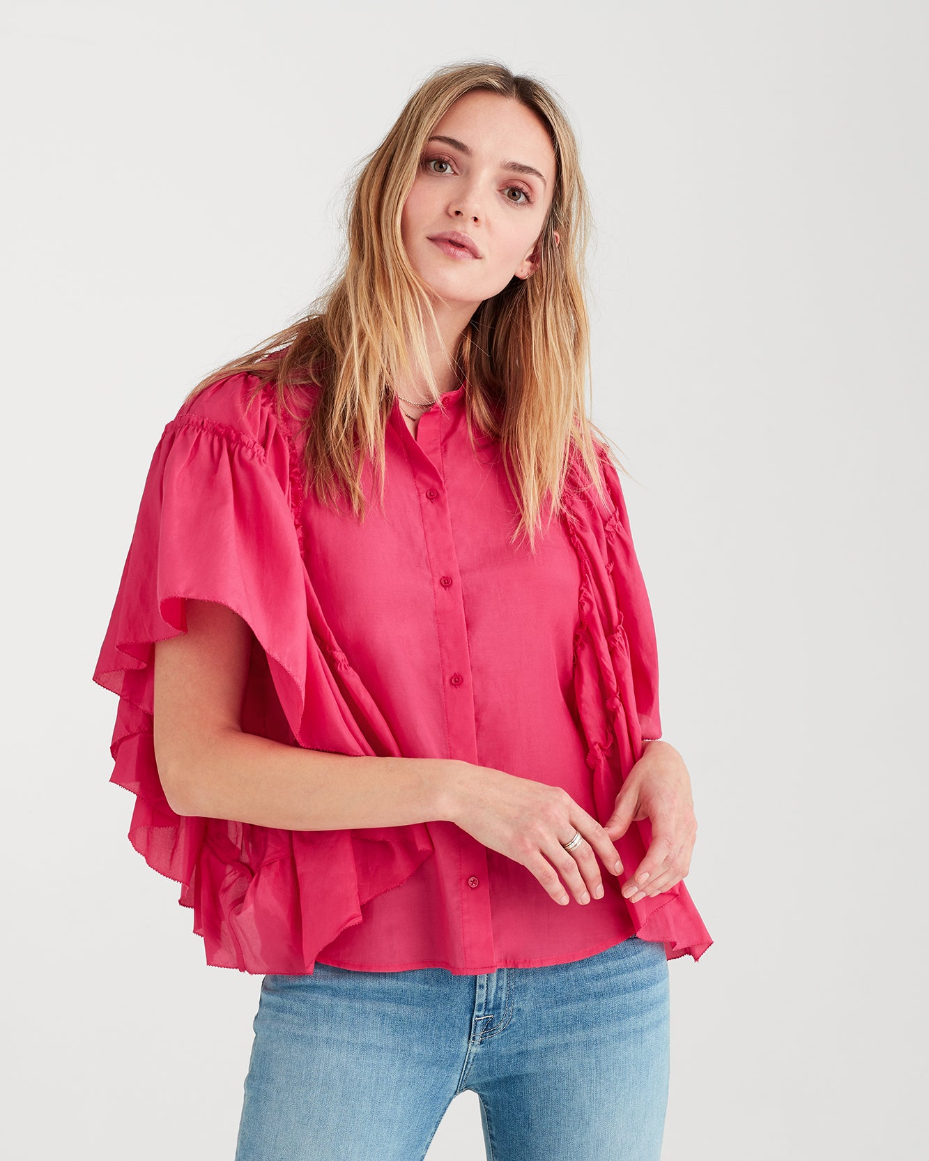 Image of Butterfly Sleeve Top in Hot Pink