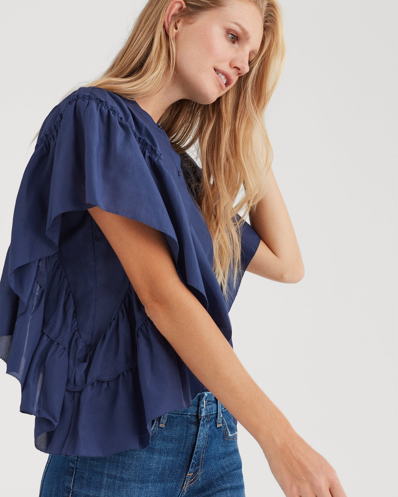 Image of Butterfly Sleeve Top in Midnight Sky