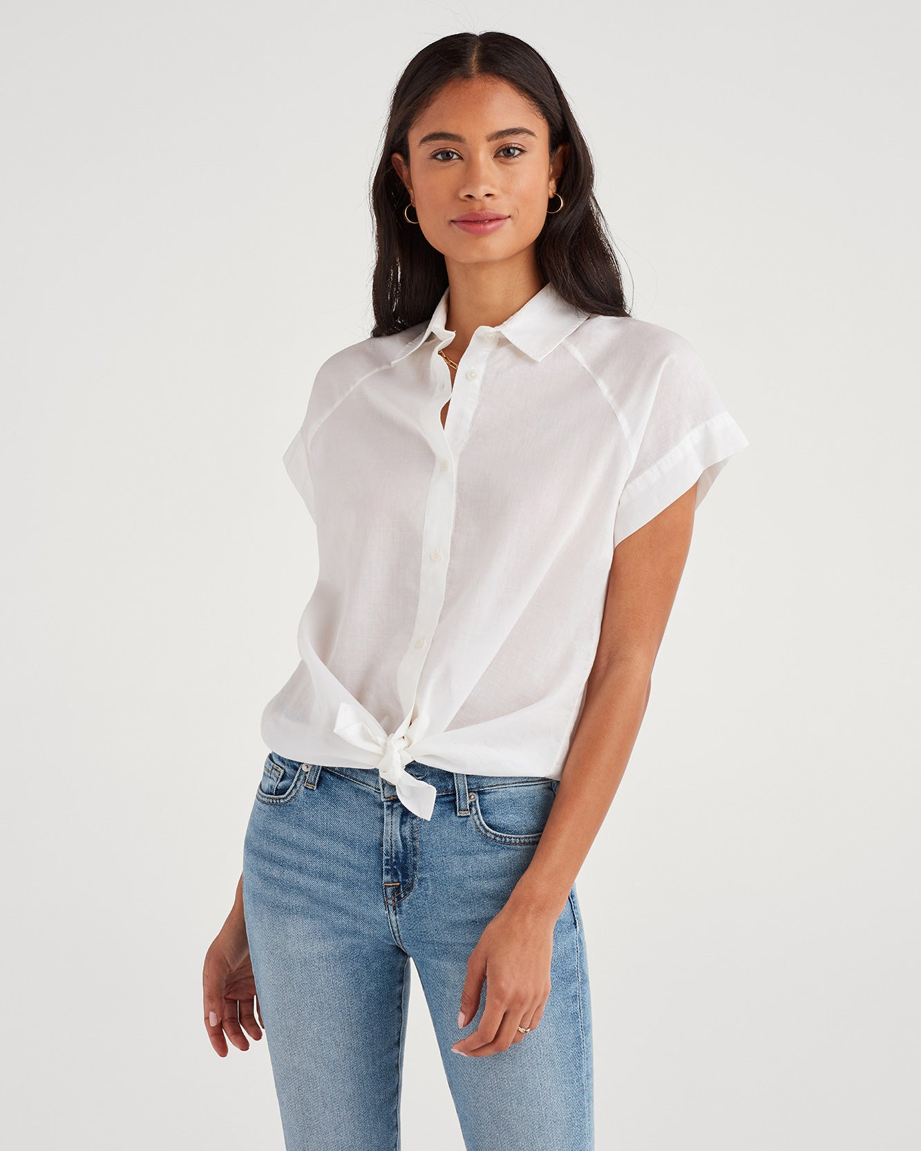 Image of Cap Sleeve Tie Front Shirt in White