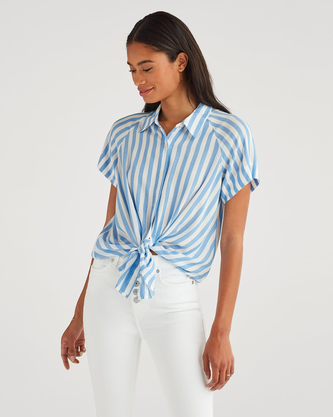 Image of Cap Sleeve Tie Front Shirt in Blue and White Stripe