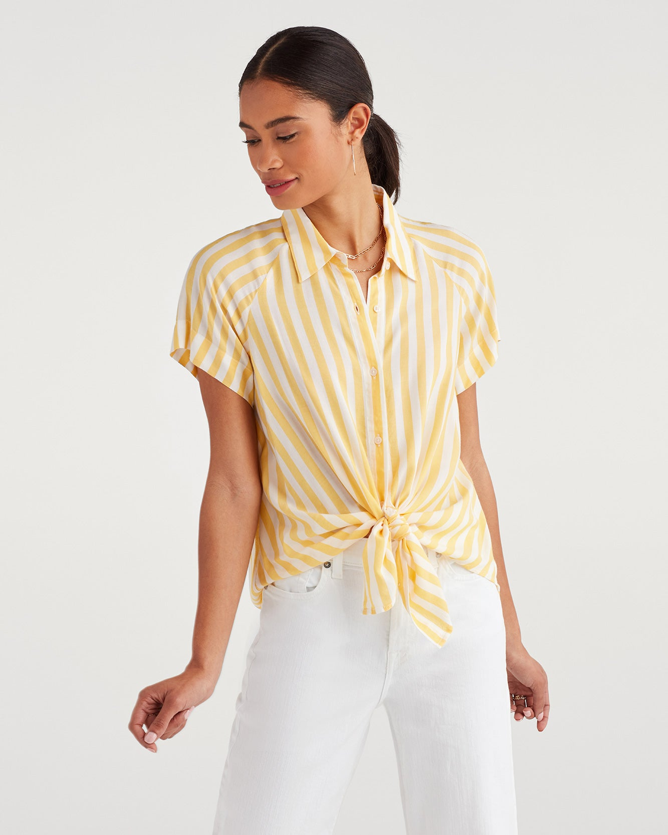 Image of Cap Sleeve Tie Front Shirt in Dandelion and White
