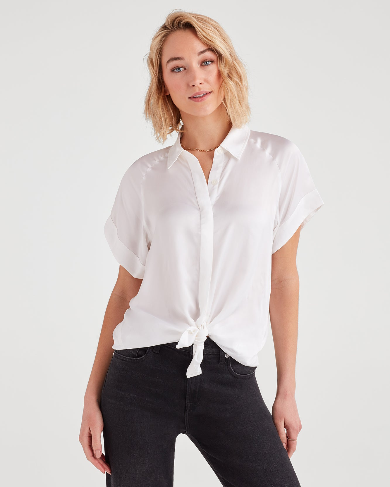 Image of Tie Front Short Sleeve Shirt in Soft White
