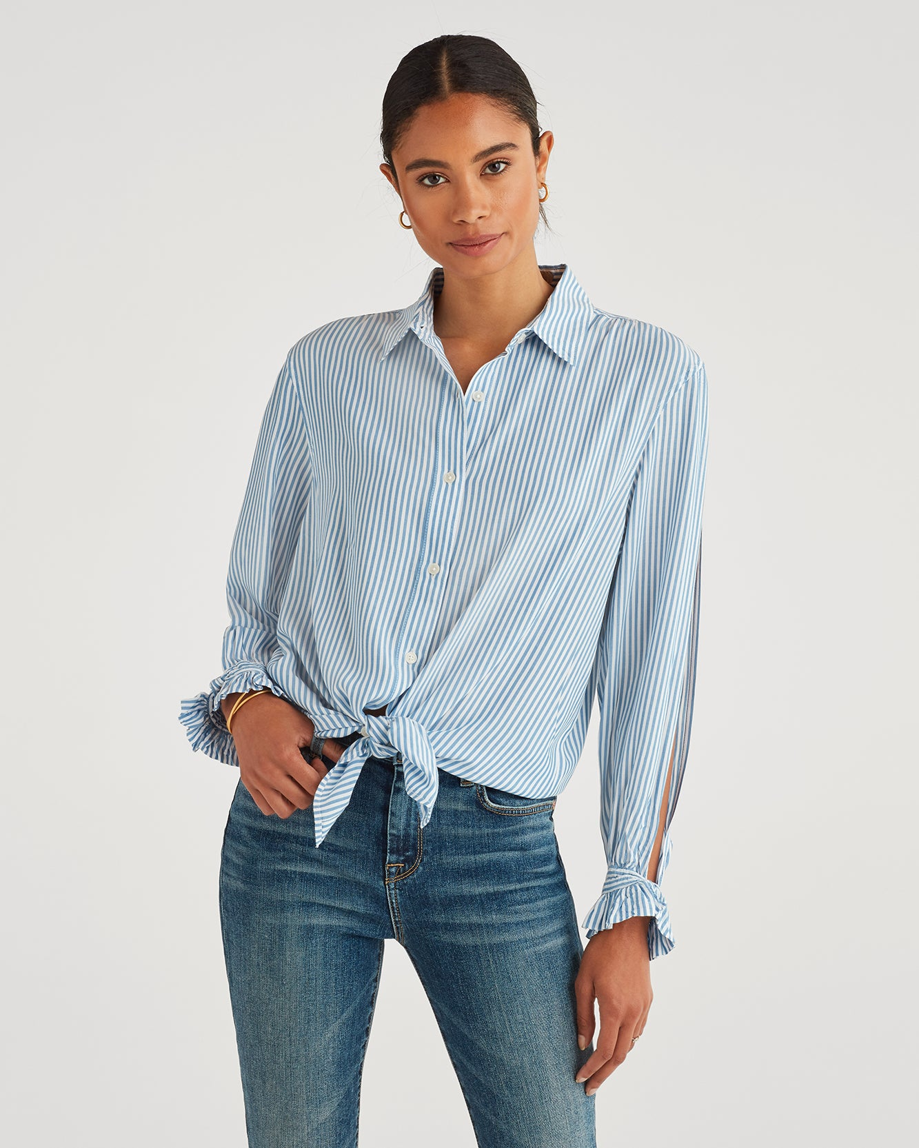 Image of Split Sleeve Shirt in Blue and White Stripe