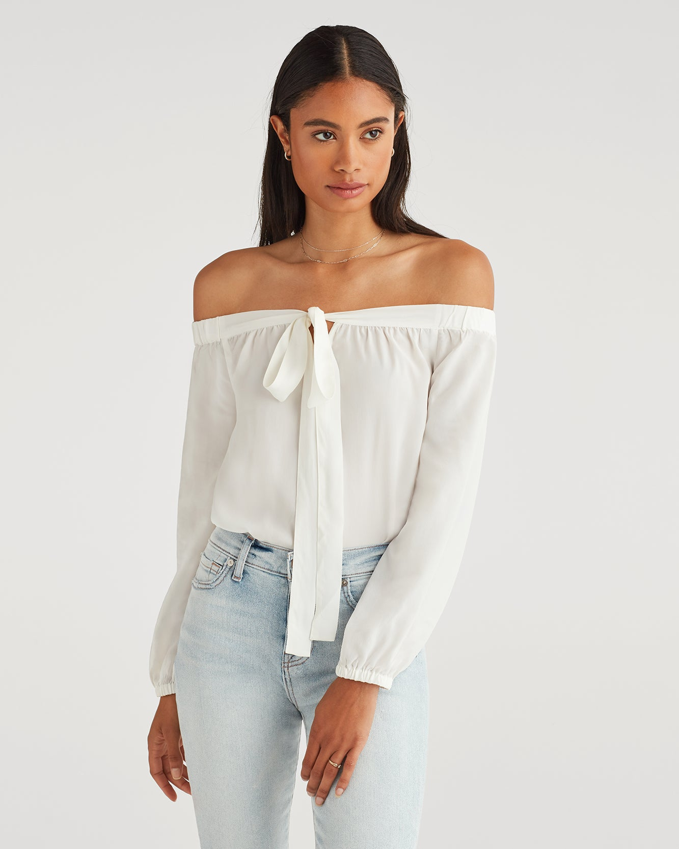 Image of Cross Strap Blouse in Soft White