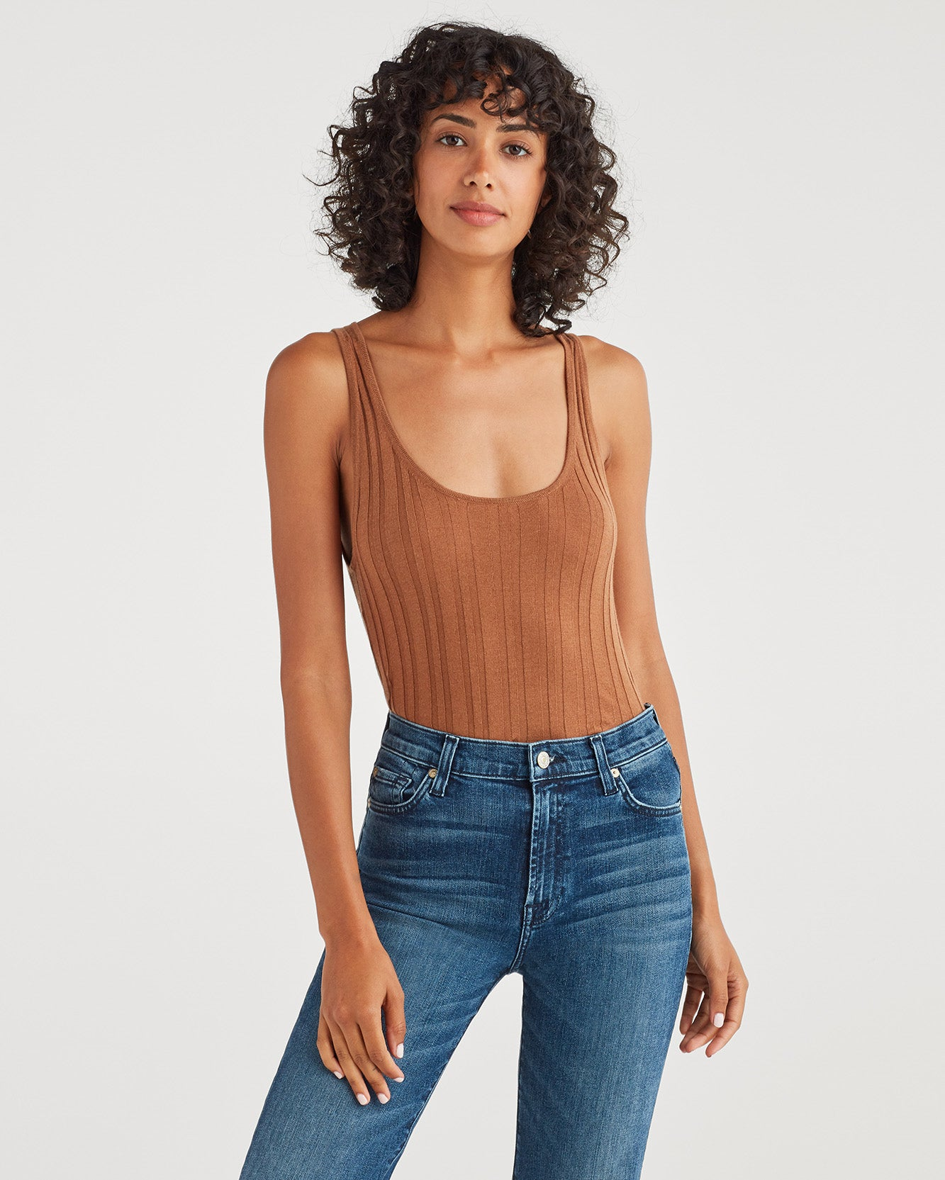Image of Cashmere Blend Racer Back Tank in Penny