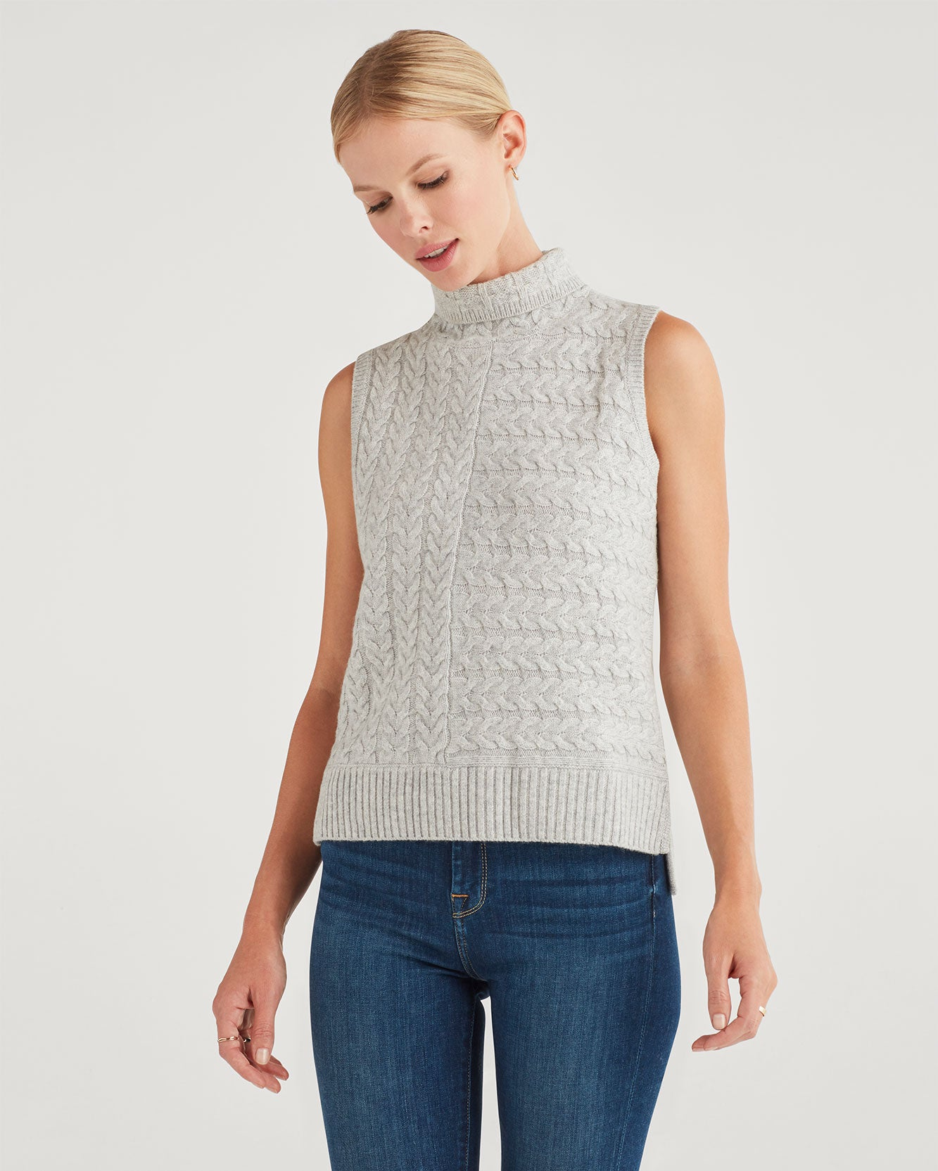 Image of Merino Wool and Cashmere Sleeveless Turtleneck in Heather Grey