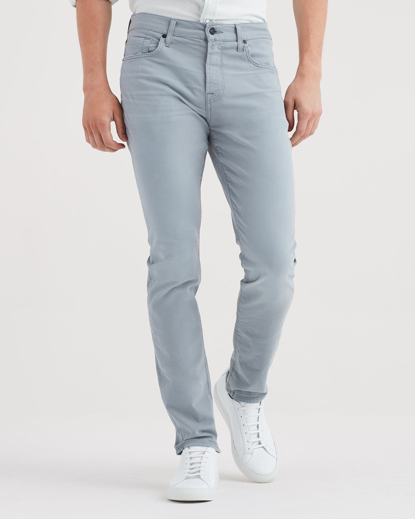 Image of Total Twill Adrien Slim Tapered With Clean Pocket in Mid Grey
