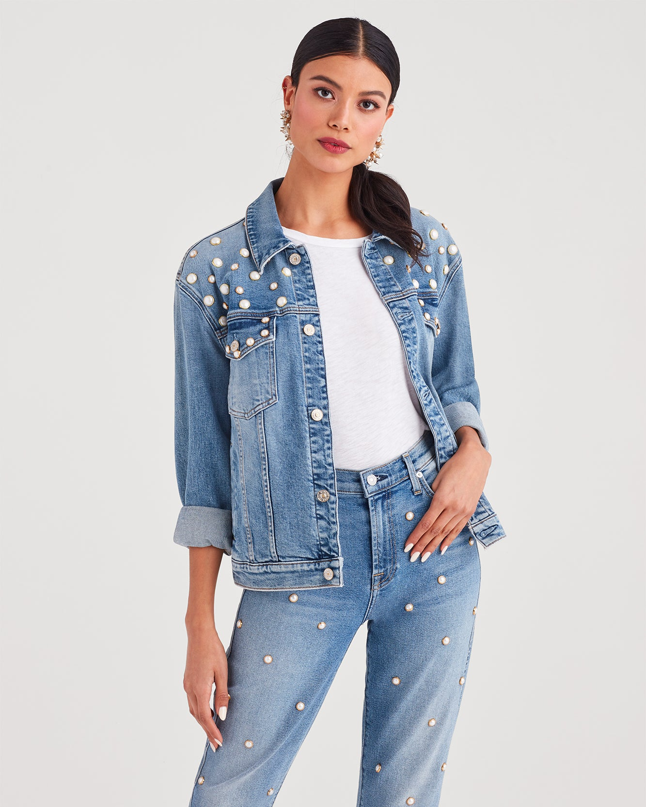 Image of Boyfriend Jacket with All Over Pearl Embellishment in Flora