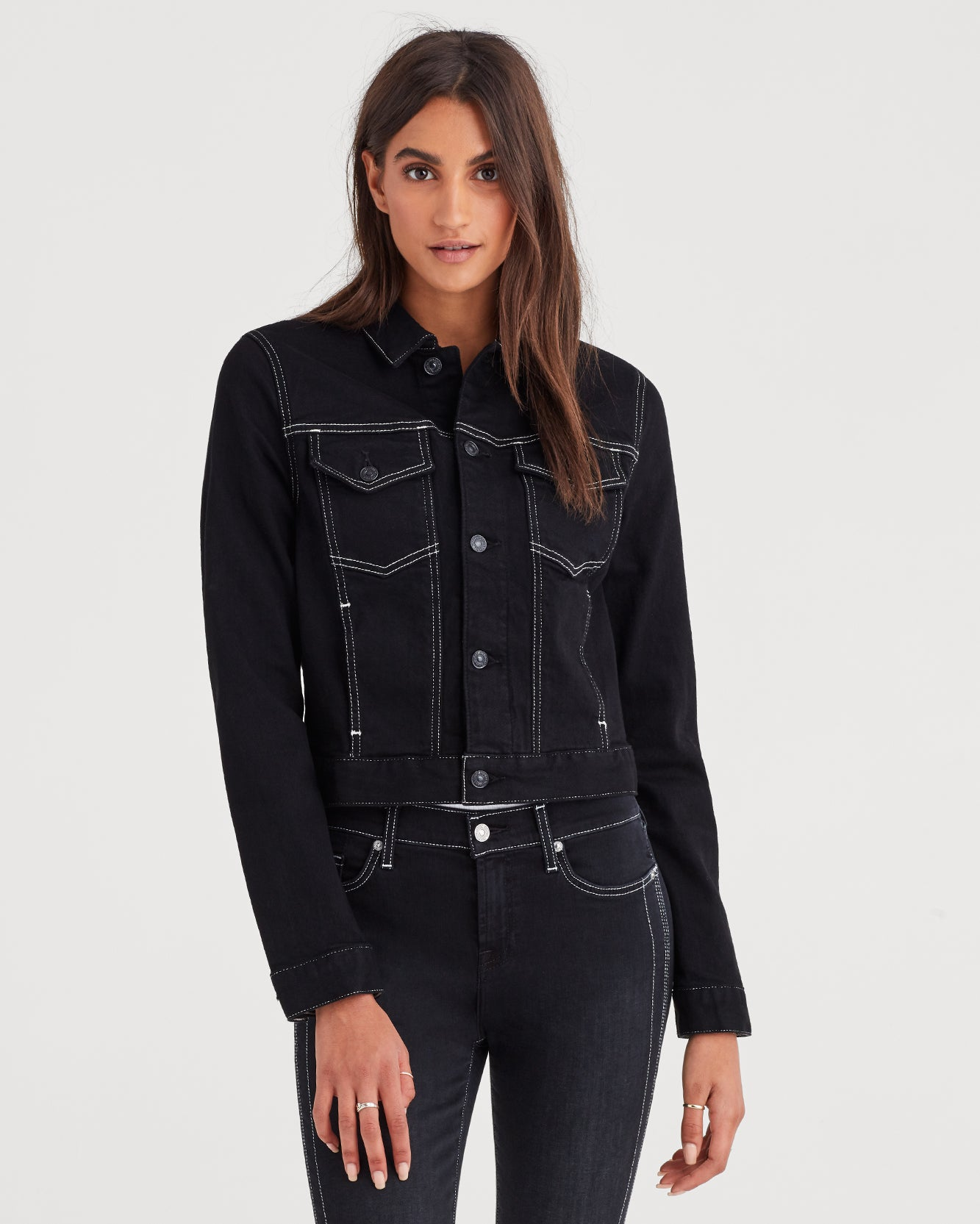 Image of Cropped Jacket with White Stitching in Rinsed Night Walk
