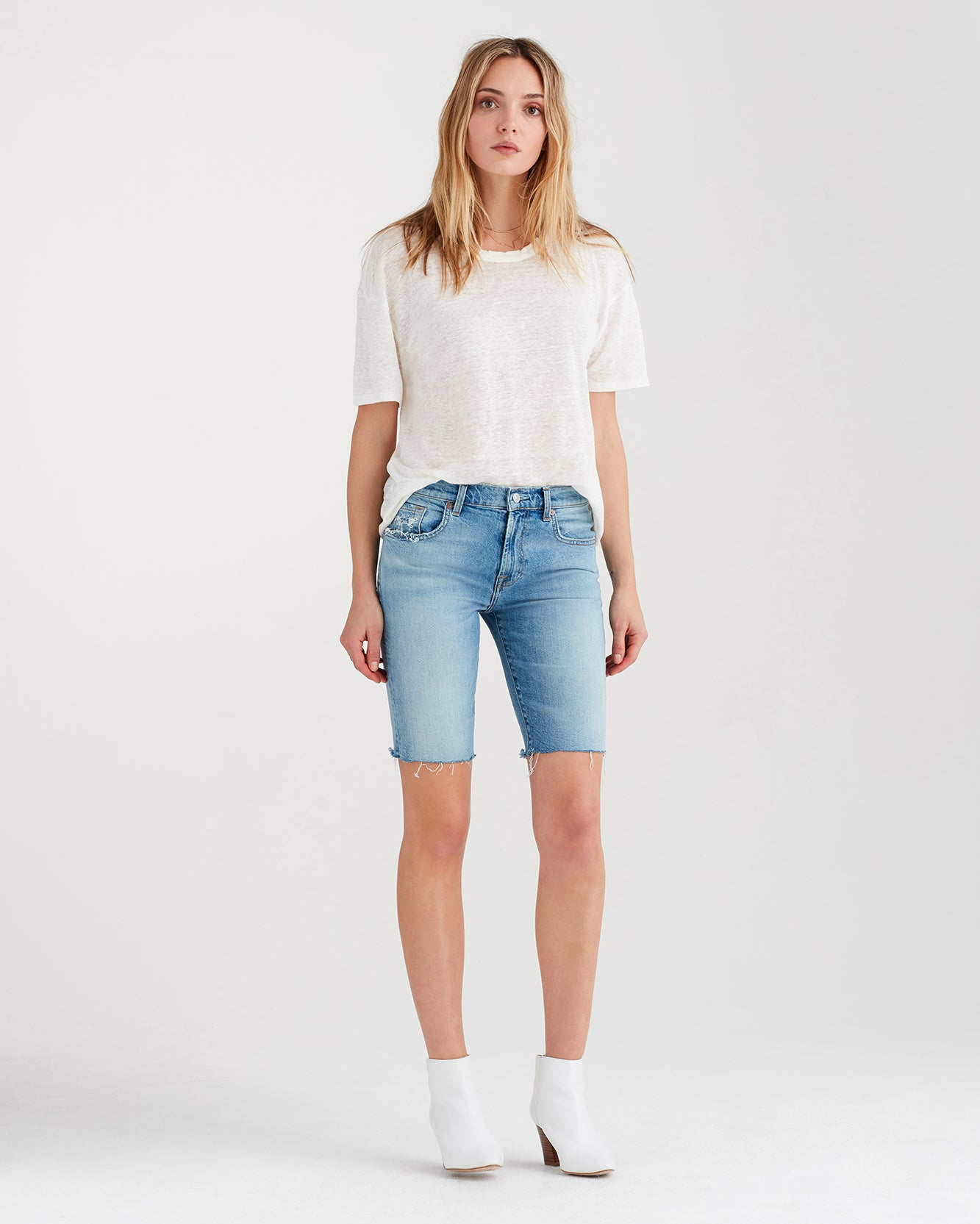 Image of High Waist Straight Bermuda Short with Destroy in Light Gallery Row