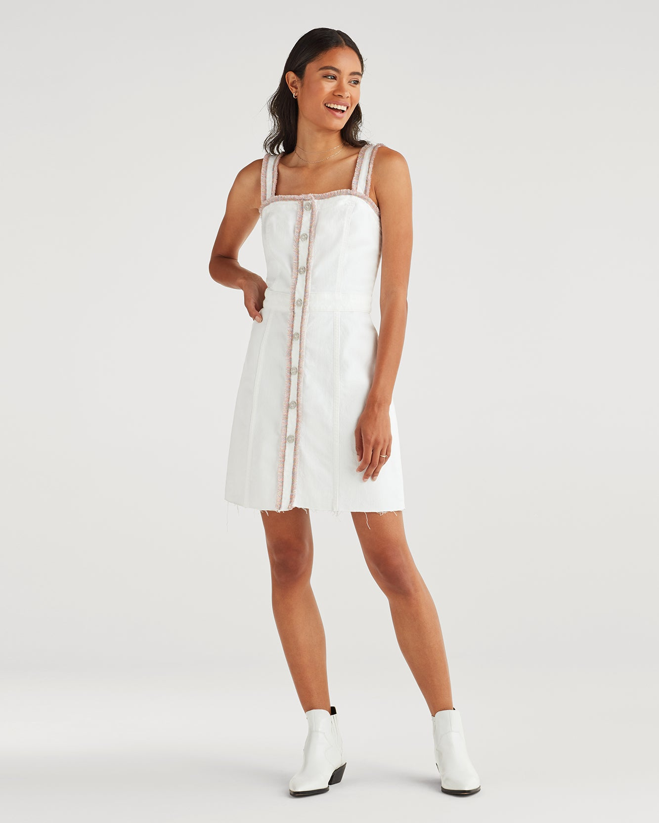 Image of Button Front Dress with Rainbow Fringe in Runway White Fashion