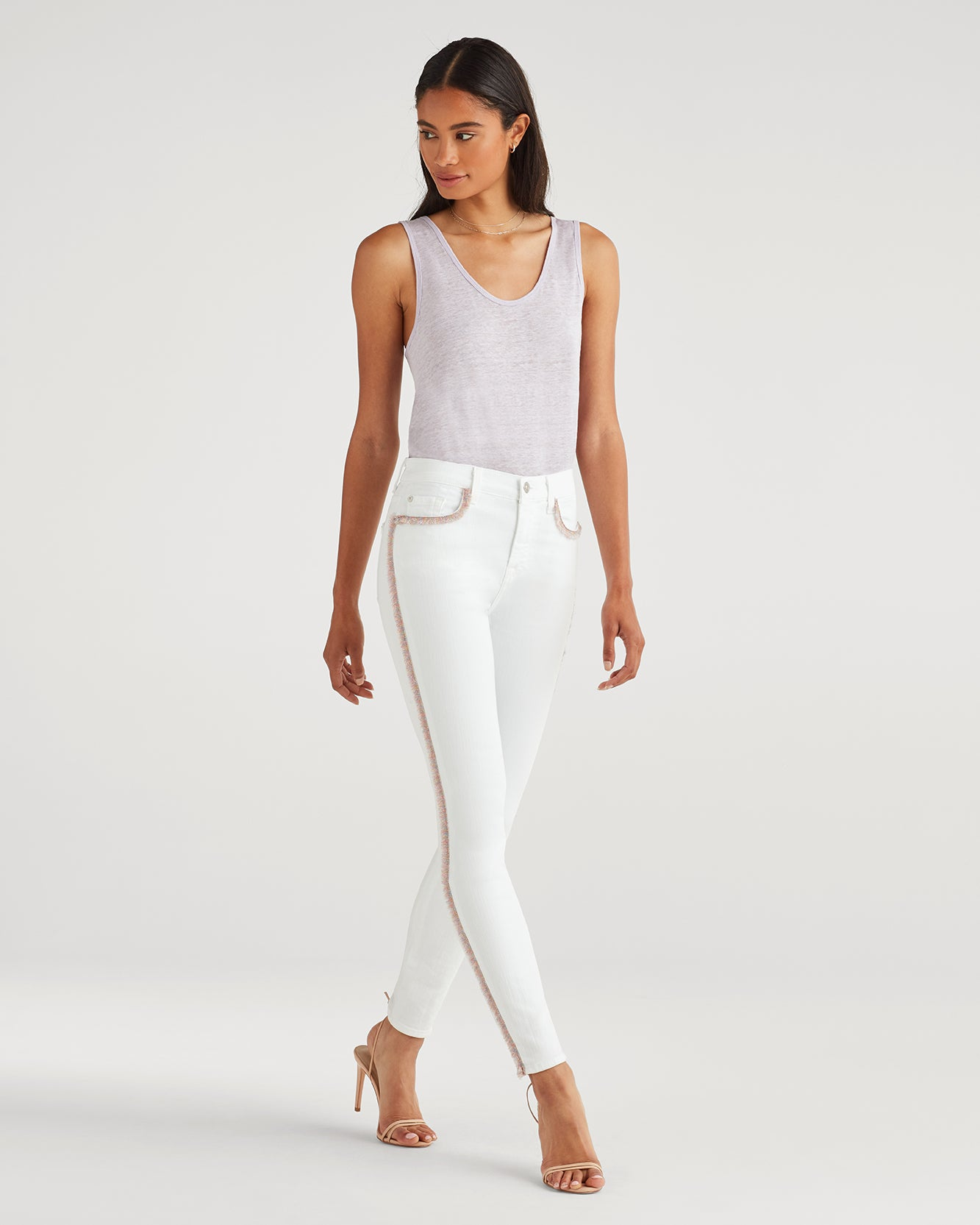 Image of The High Waist Ankle Skinny with Rainbow Fringe in Runway White Fashion