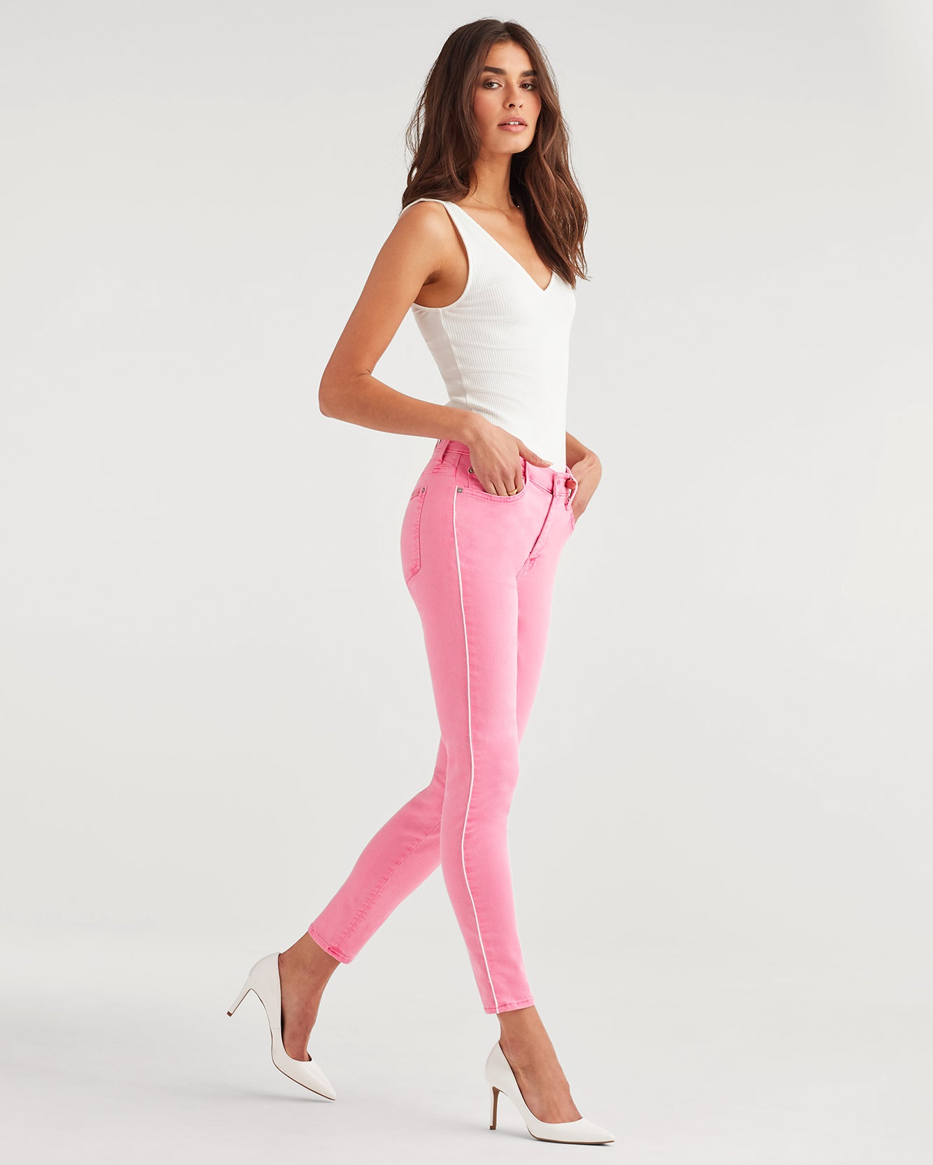 Image of High Waist Ankle Skinny with Piping in Neon Pink