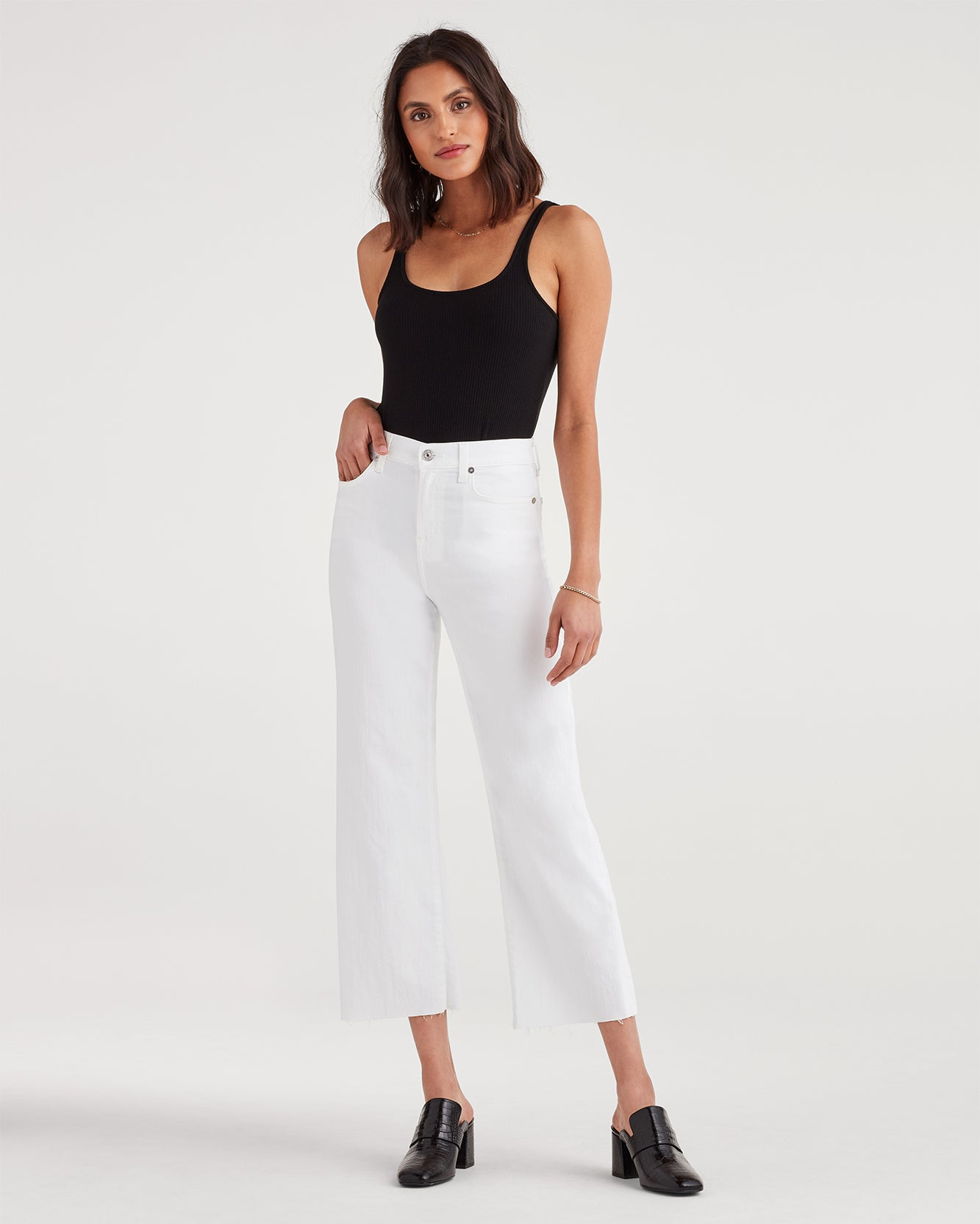 Image of Cropped Alexa with Cut Off Hem in White Runway