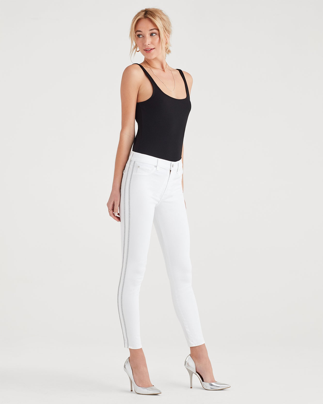 Image of High Waist Ankle Skinny with Double Silver Lurex Stripes in White Fashion