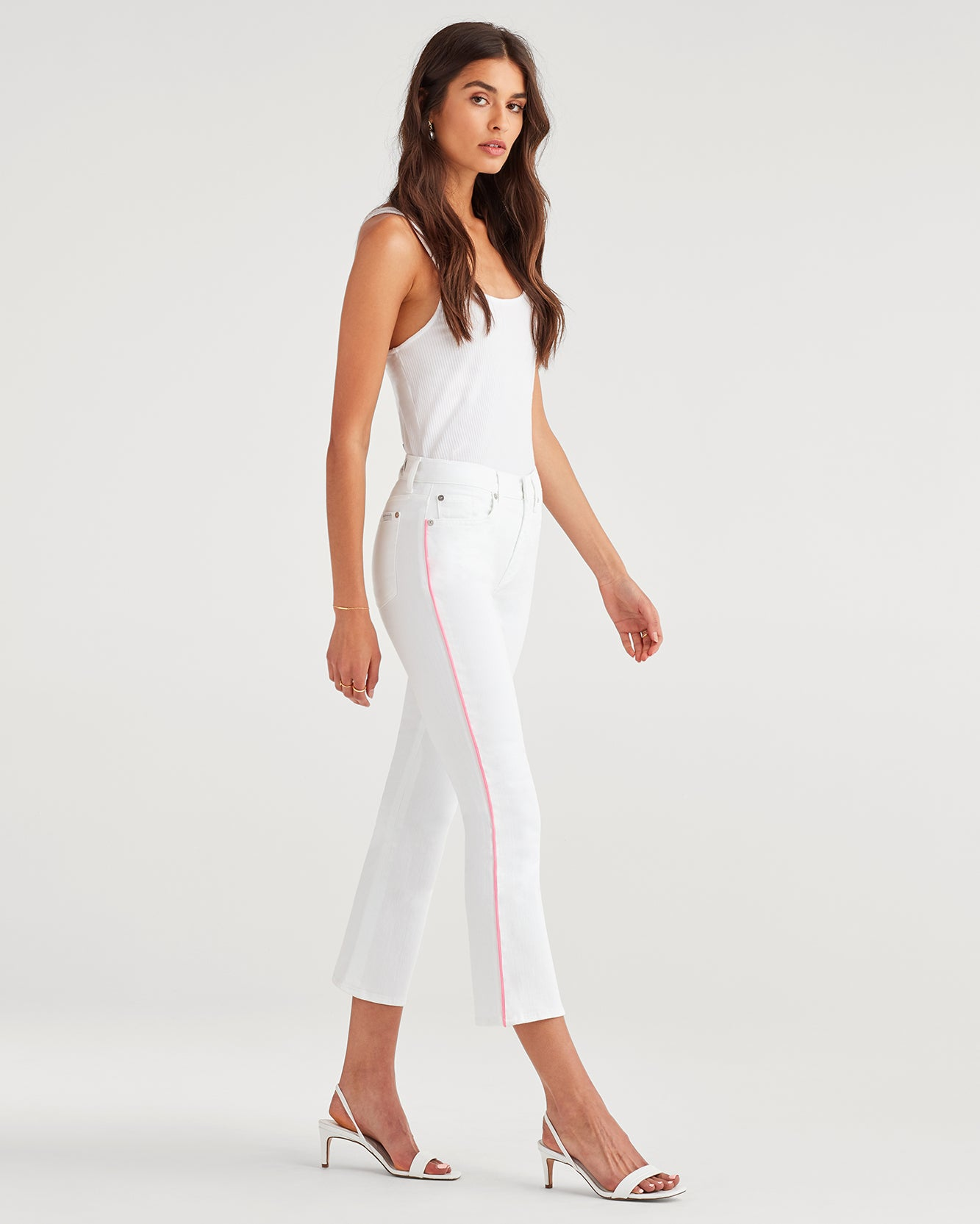Image of High Waist Slim Kick with Neon Piping in White