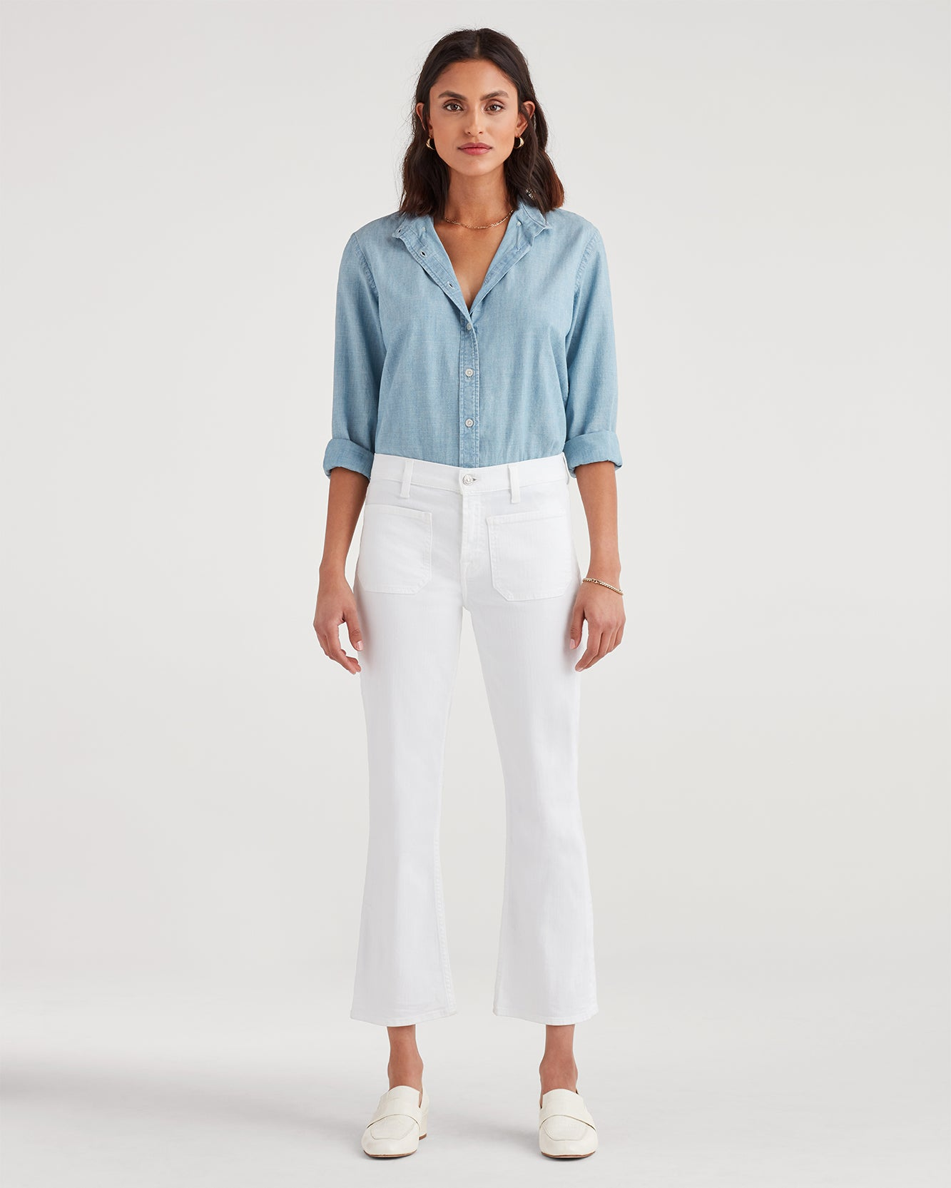 Image of High Waist Slim Kick with Front Pockets in White Runway