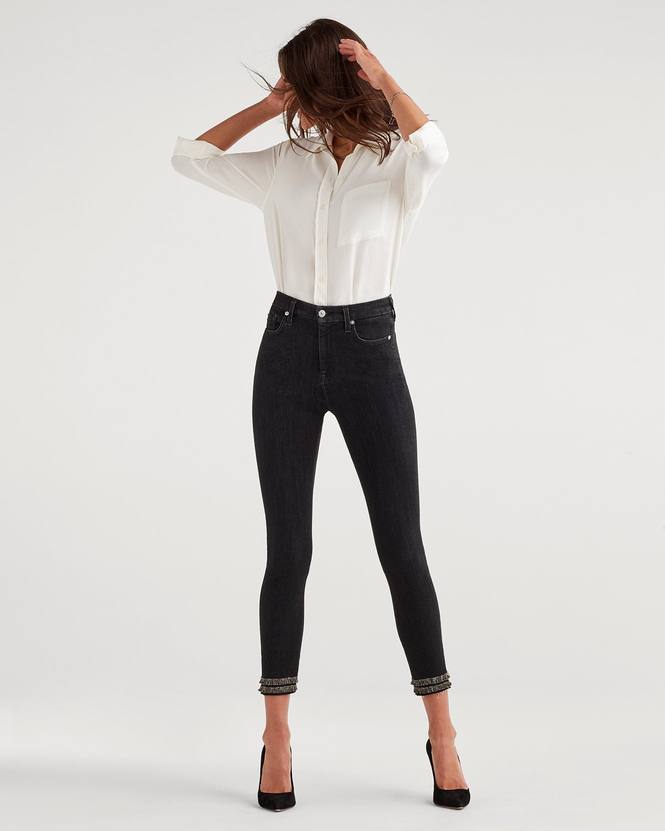 Image of High Waist Ankle Skinny with Fringe Hem in Washed Out Black