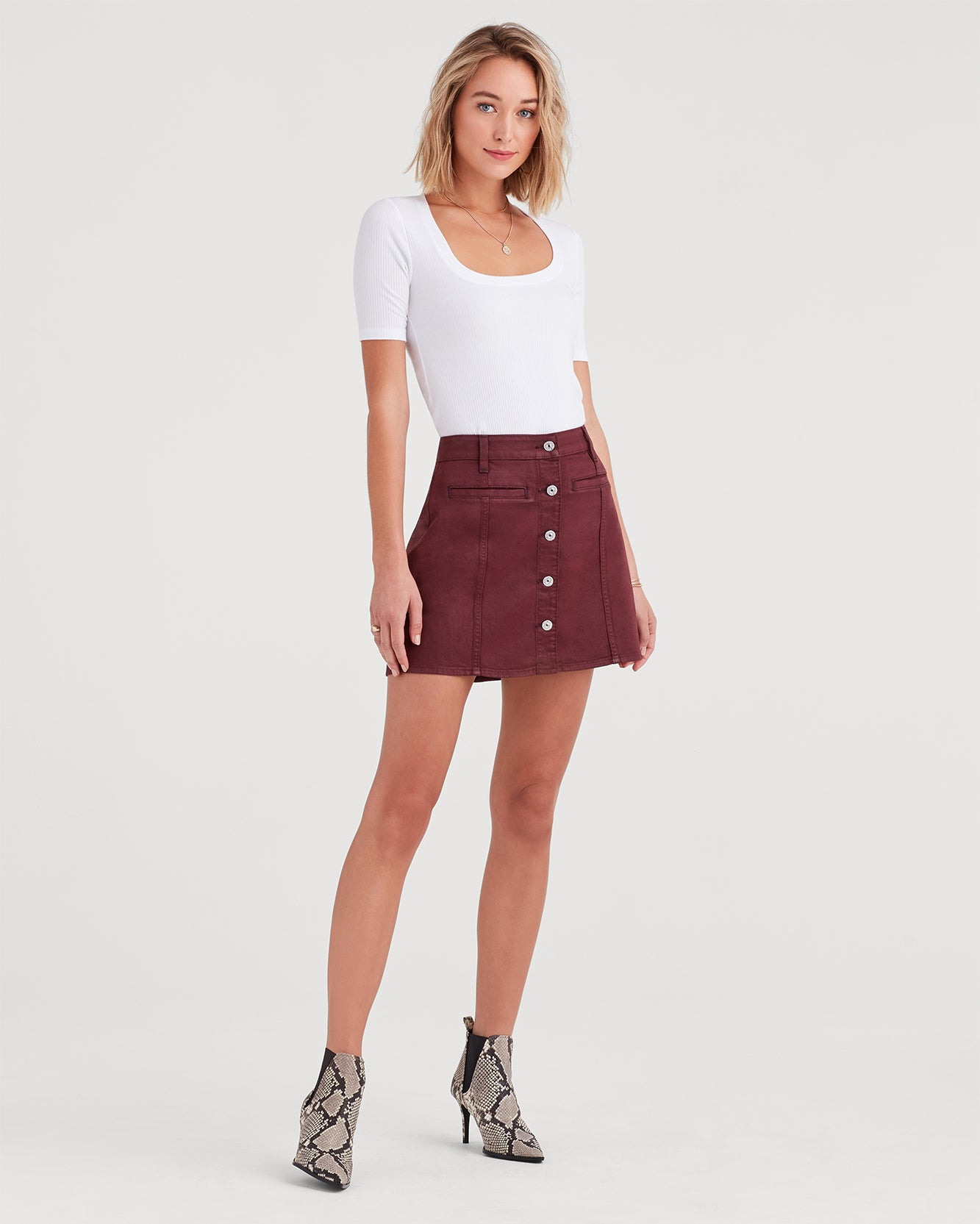 Image of Button Front Mini Skirt in Bordeaux