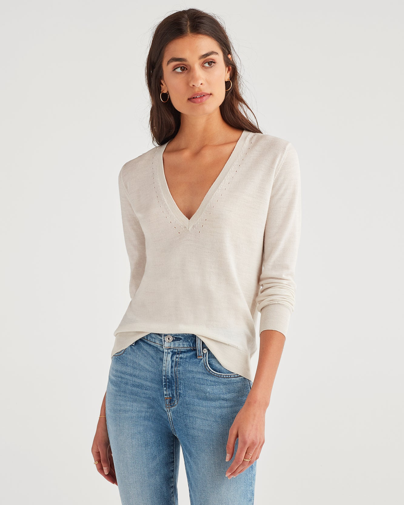 Image of Classic V-Neck Sweater in Off White