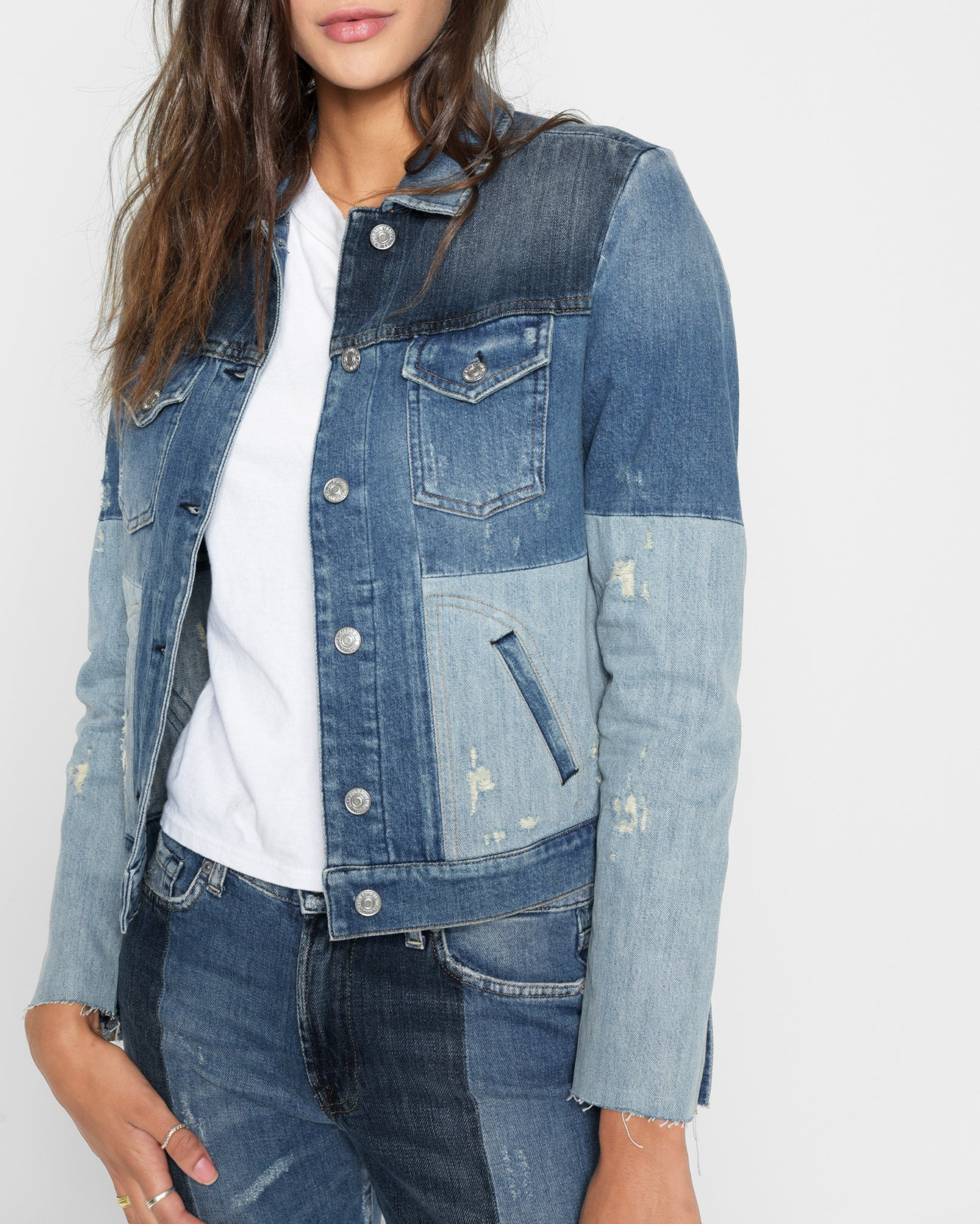 Image of Patchwork Jacket in Indigo Patches
